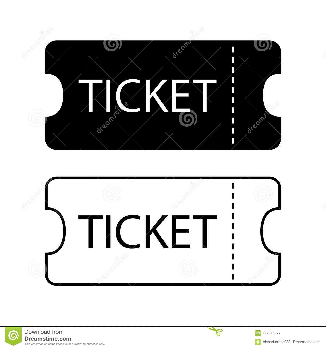 ticket icon templates for tickets to the cinema theater museum