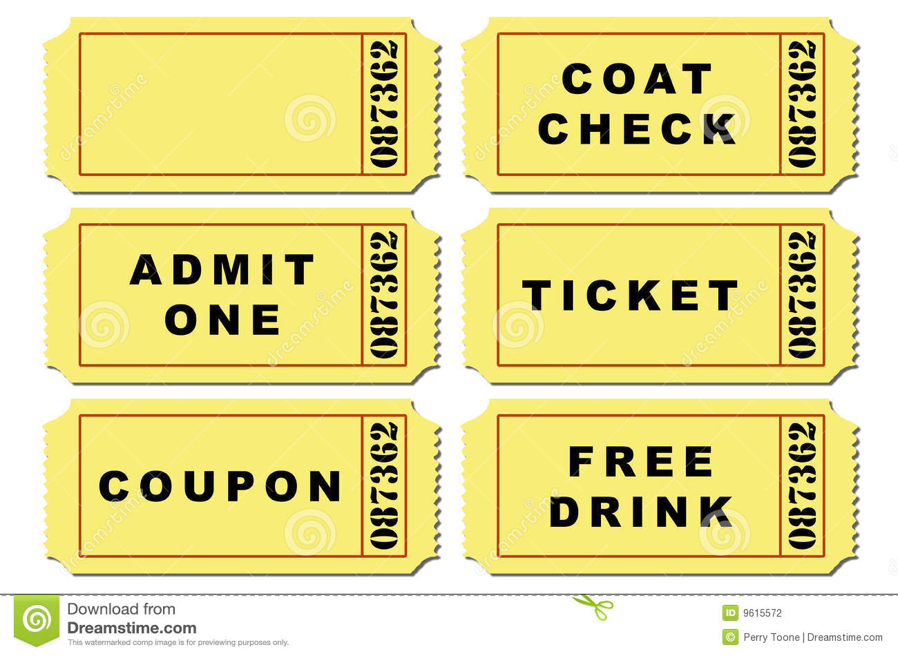 Ticket Illustration Set Stock Photography - Image: 9615572
