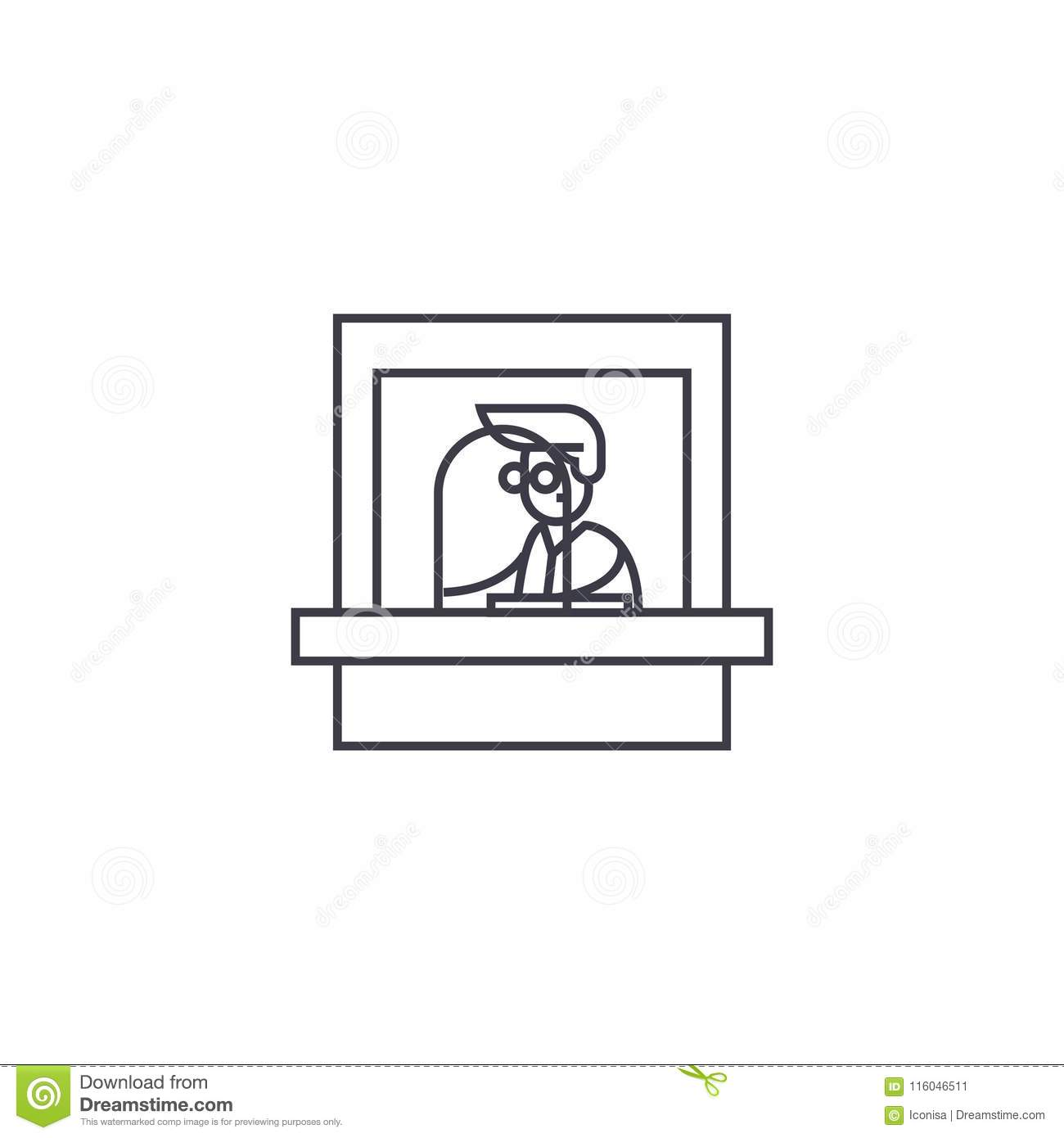 ticket office vector line icon sign illustration on background