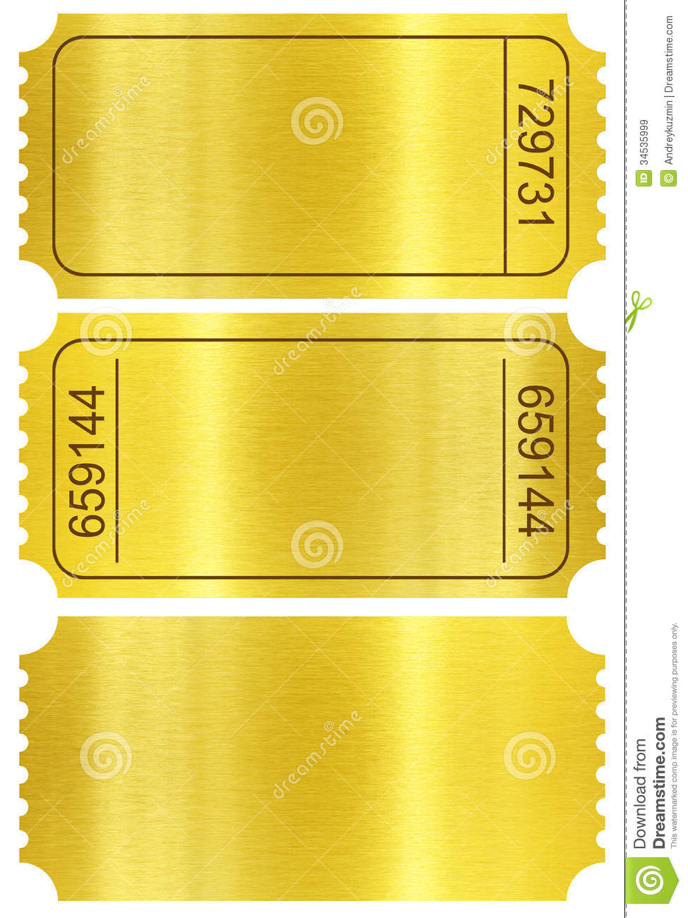 ticket set  golden ticket stubs isolated on white stock