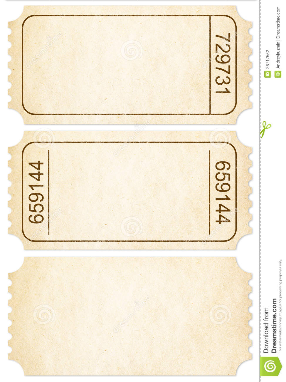 Ticket Set Paper Ticket Stubs Isolated With Clipping Path