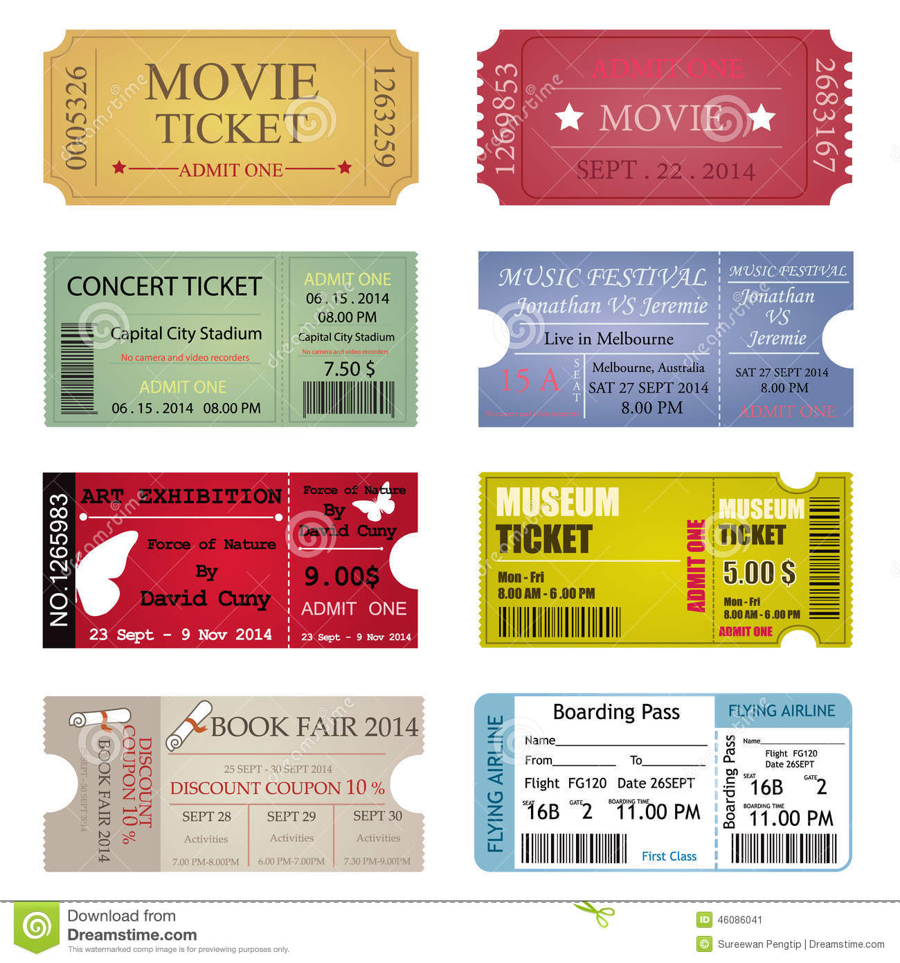 ticket template designs stock vector
