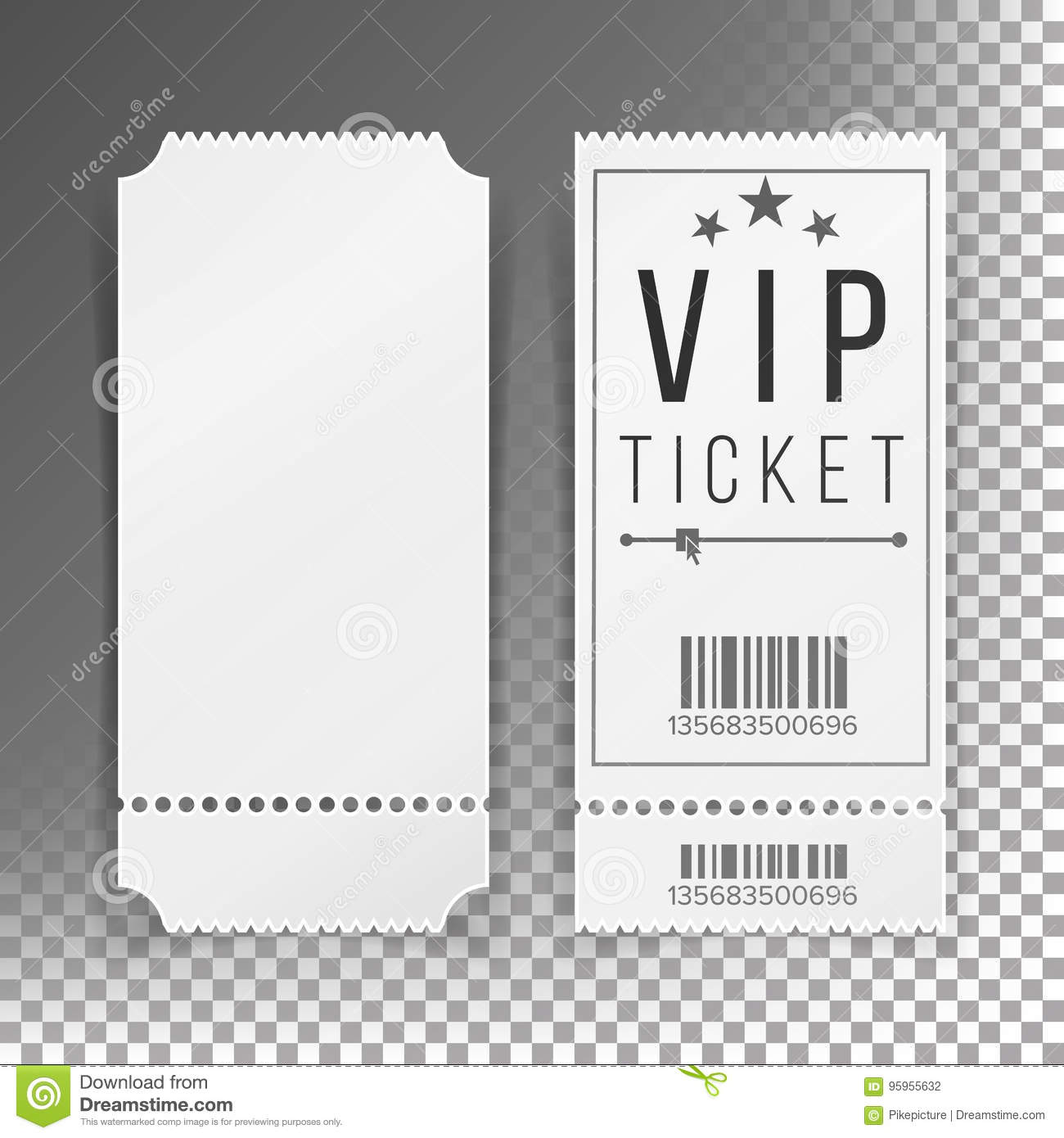 Ticket template set vector blank theater cinema train for Ticket template for mac