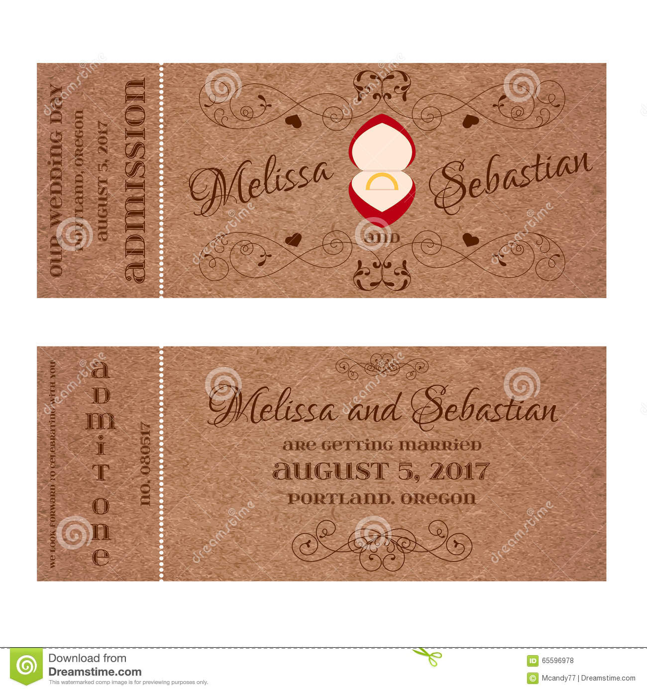 Golden Save The Date For Wedding Invitation Wedding: Ticket For Wedding Invitation With Wedding Golden Ring In