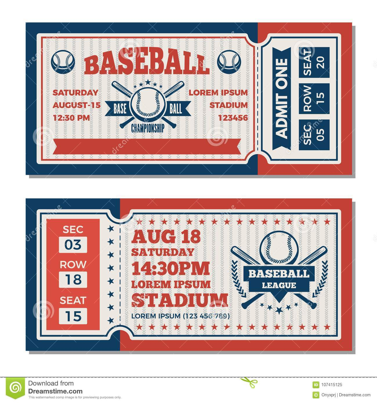 tickets design template at baseball tournament stock vector