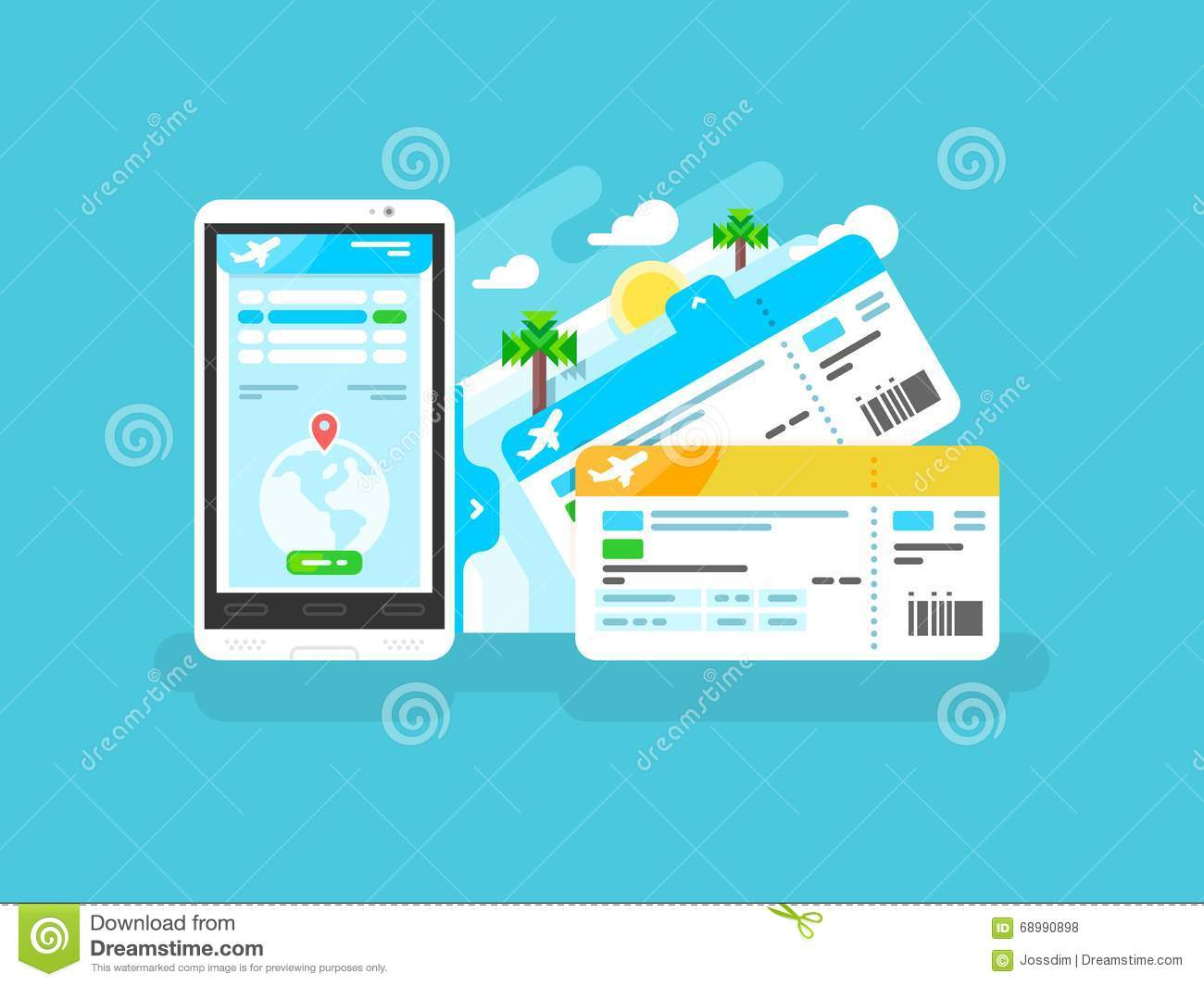 Tickets for the plane on a smartphone stock vector image for Design a plane online