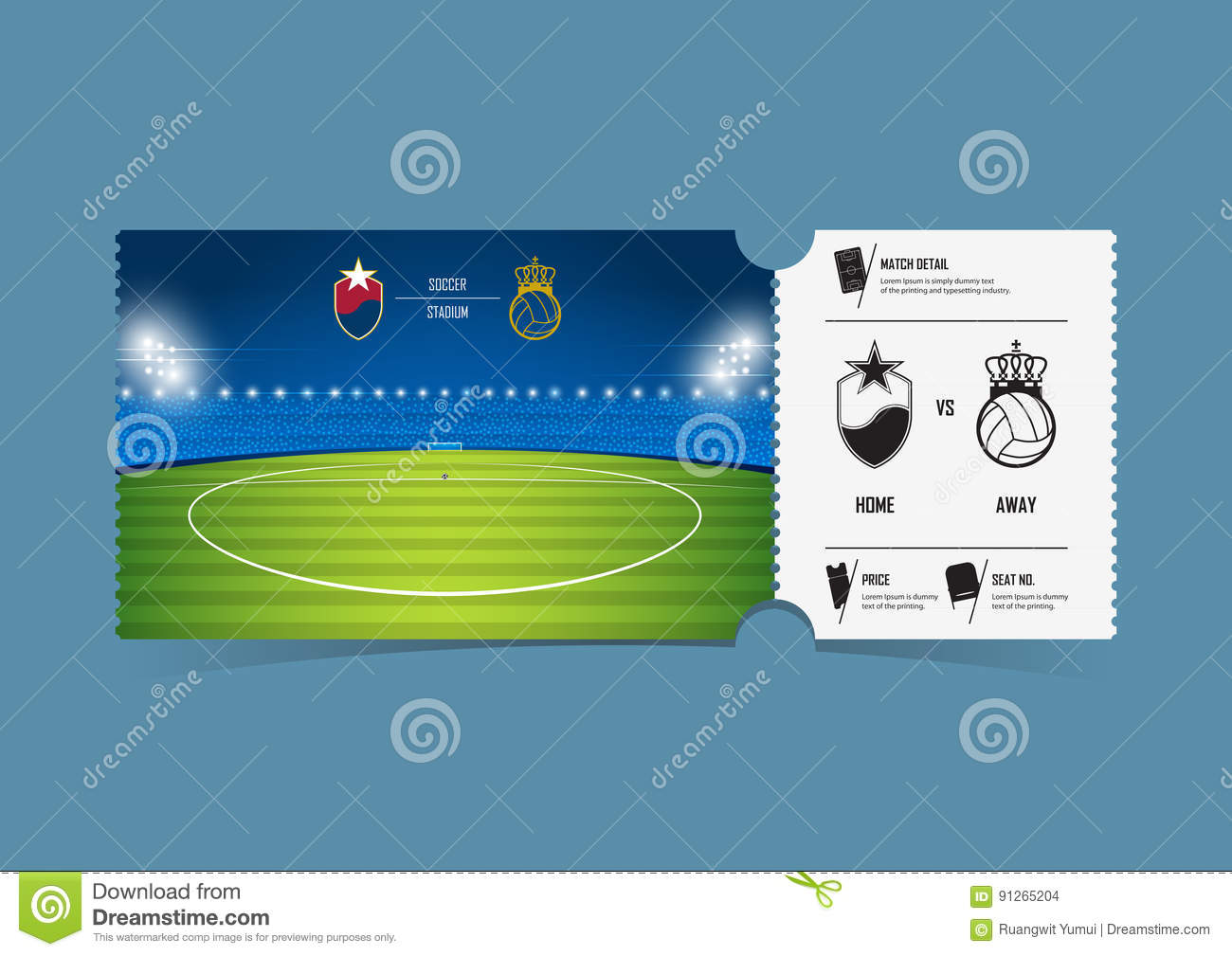 Tickets Template Design For Football Or Soccer Match. Gift ...