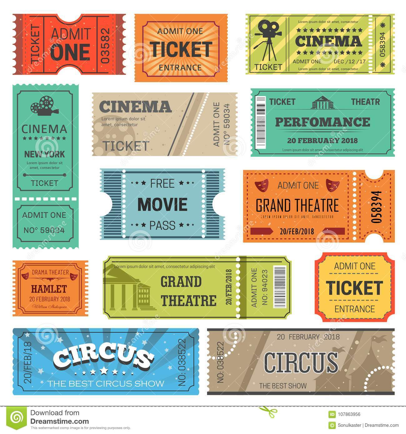 tickets vector design templates for movie theater or cinema and