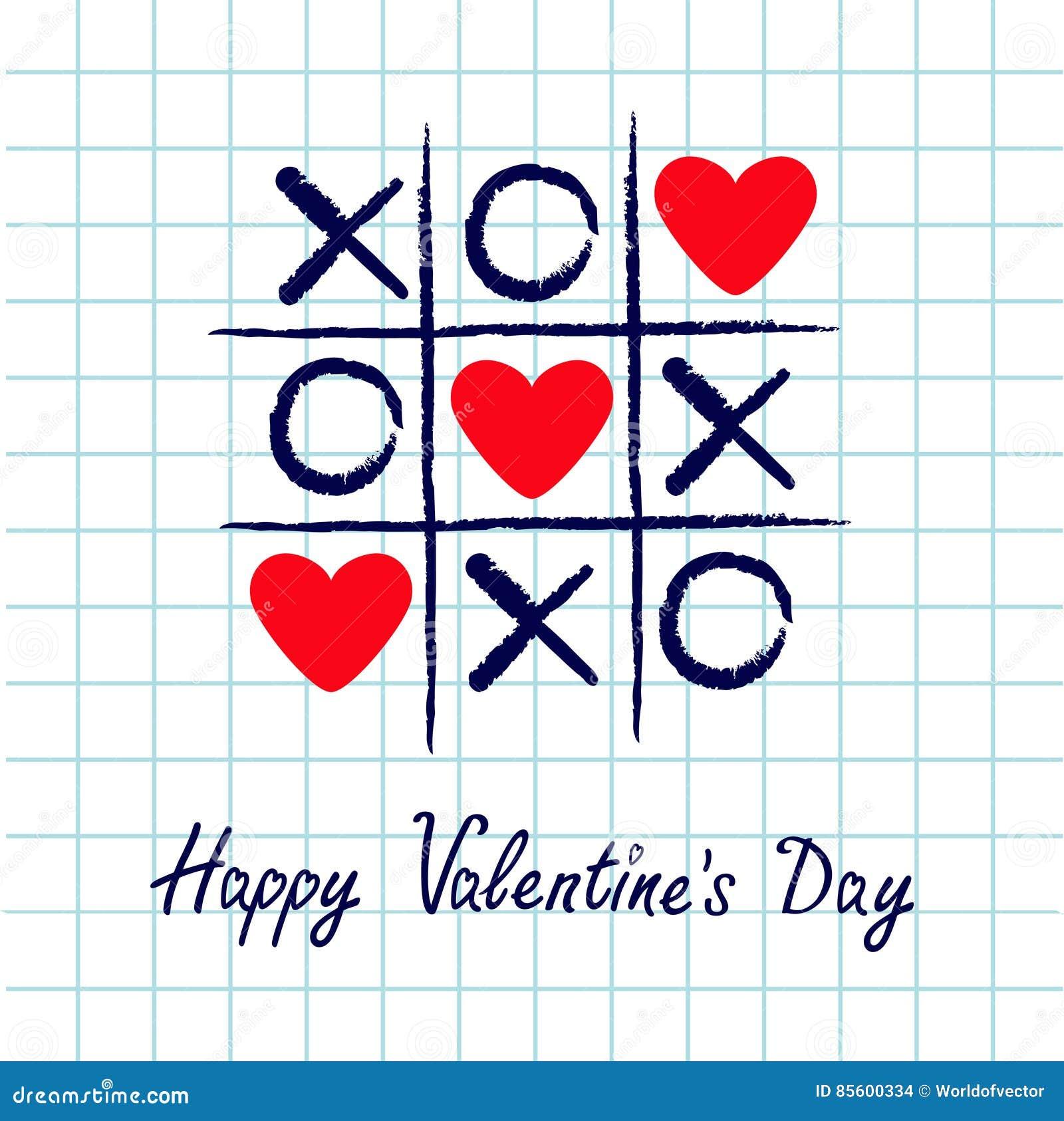 Tictac het teenspel met crisskruis en rood hart drie ondertekenen teken XOXO Hand getrokken blauwe penborstel Krabbellijn Gelukki