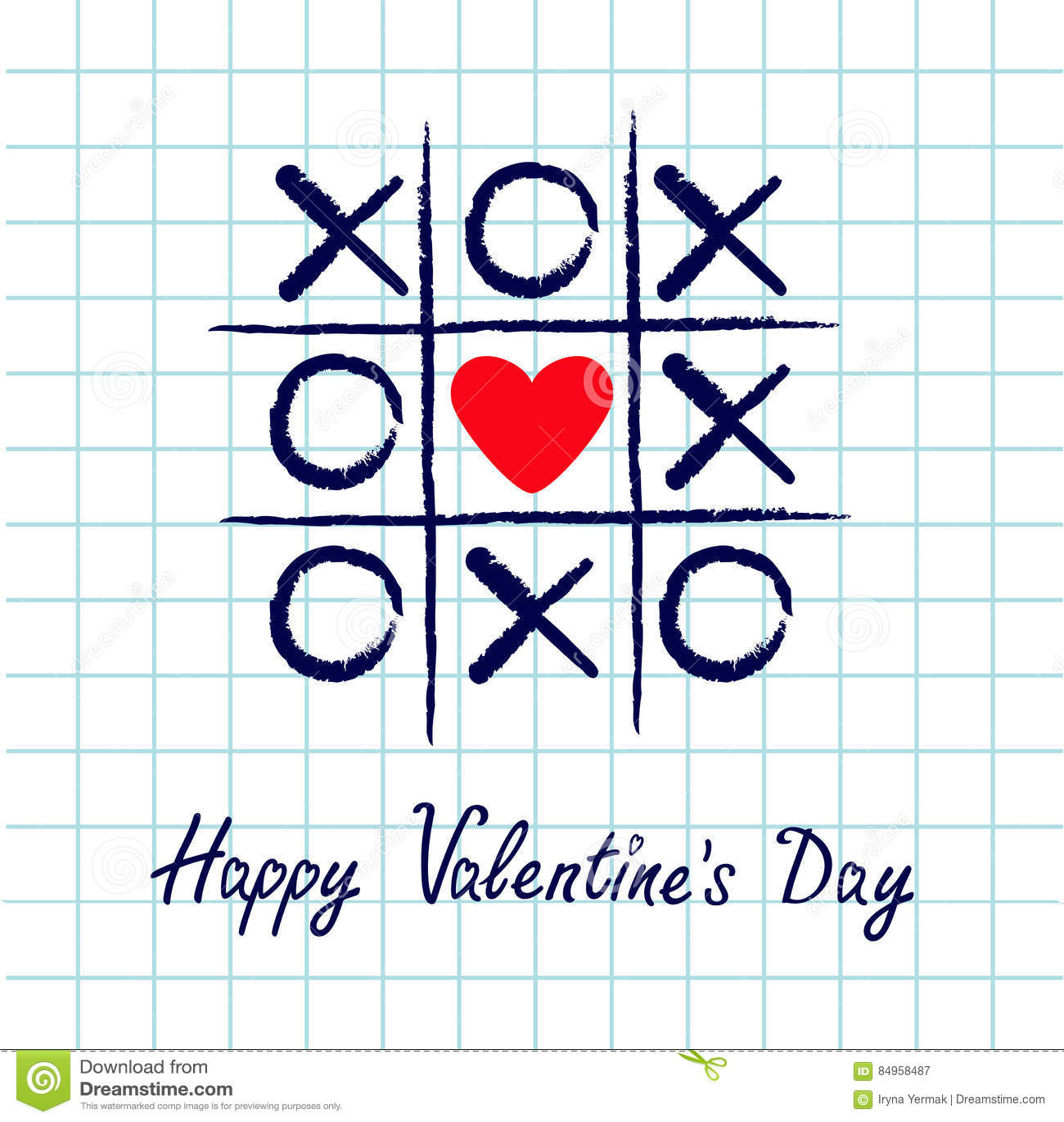 Tictac teenspel met het tekenteken XOXO van het criss dwars en rood hart Hand getrokken blauwe penborstel Krabbellijn De gelukkig