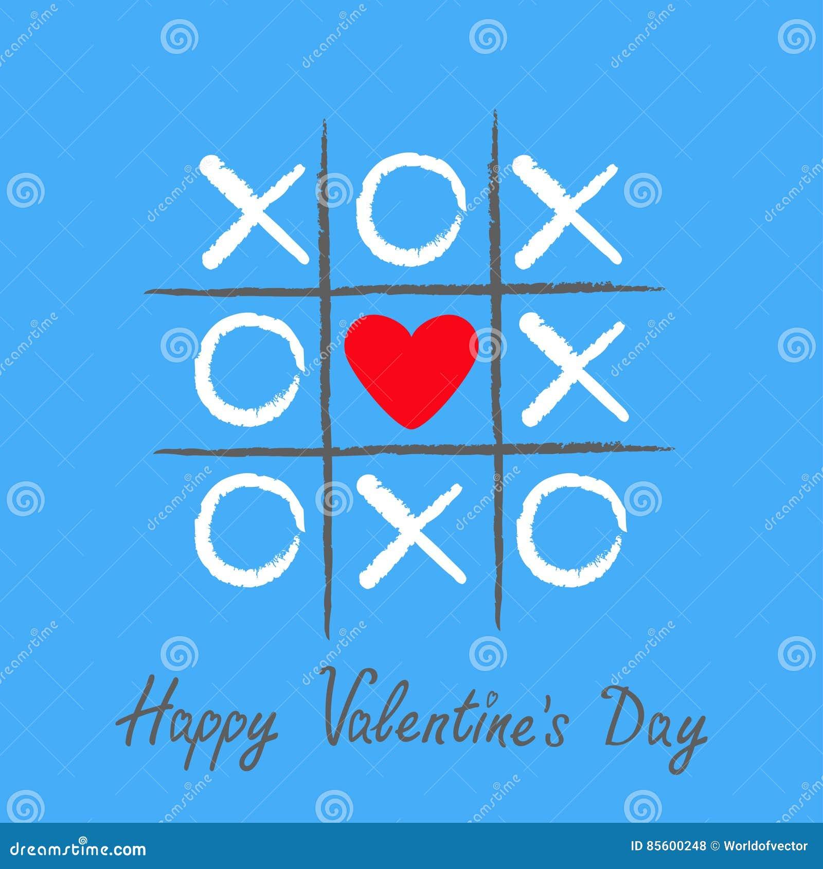 Tictac teenspel met het tekenteken XOXO van het criss dwars en rood hart Hand getrokken borstel Krabbellijn Gelukkige de kaart Vl