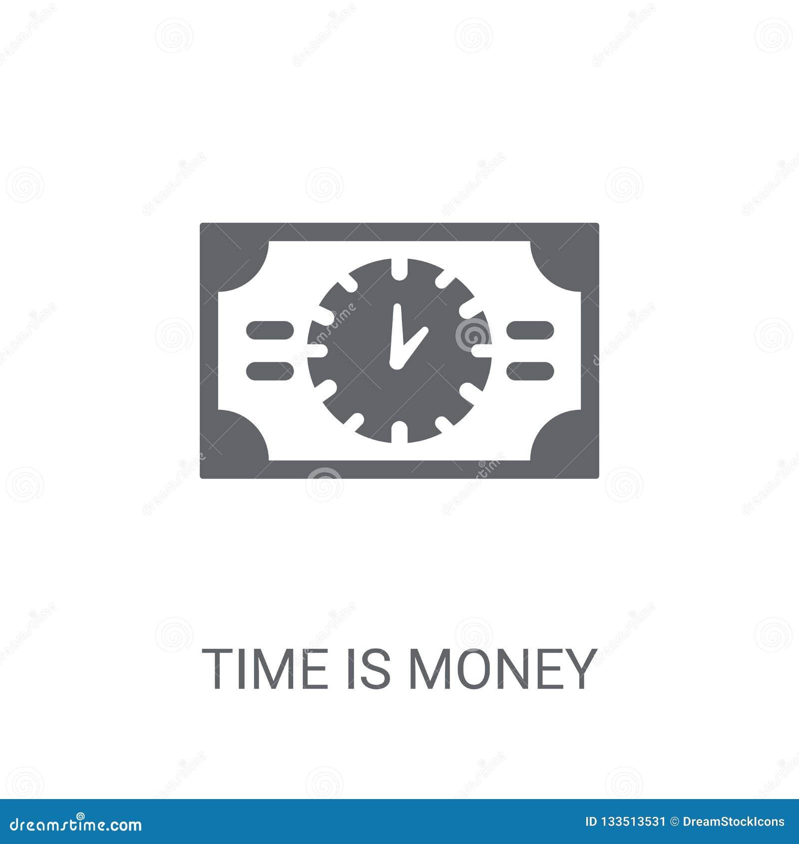 Tid är pengarsymbolen Moderiktiga Tid är pengarlogobegreppet på vitt b