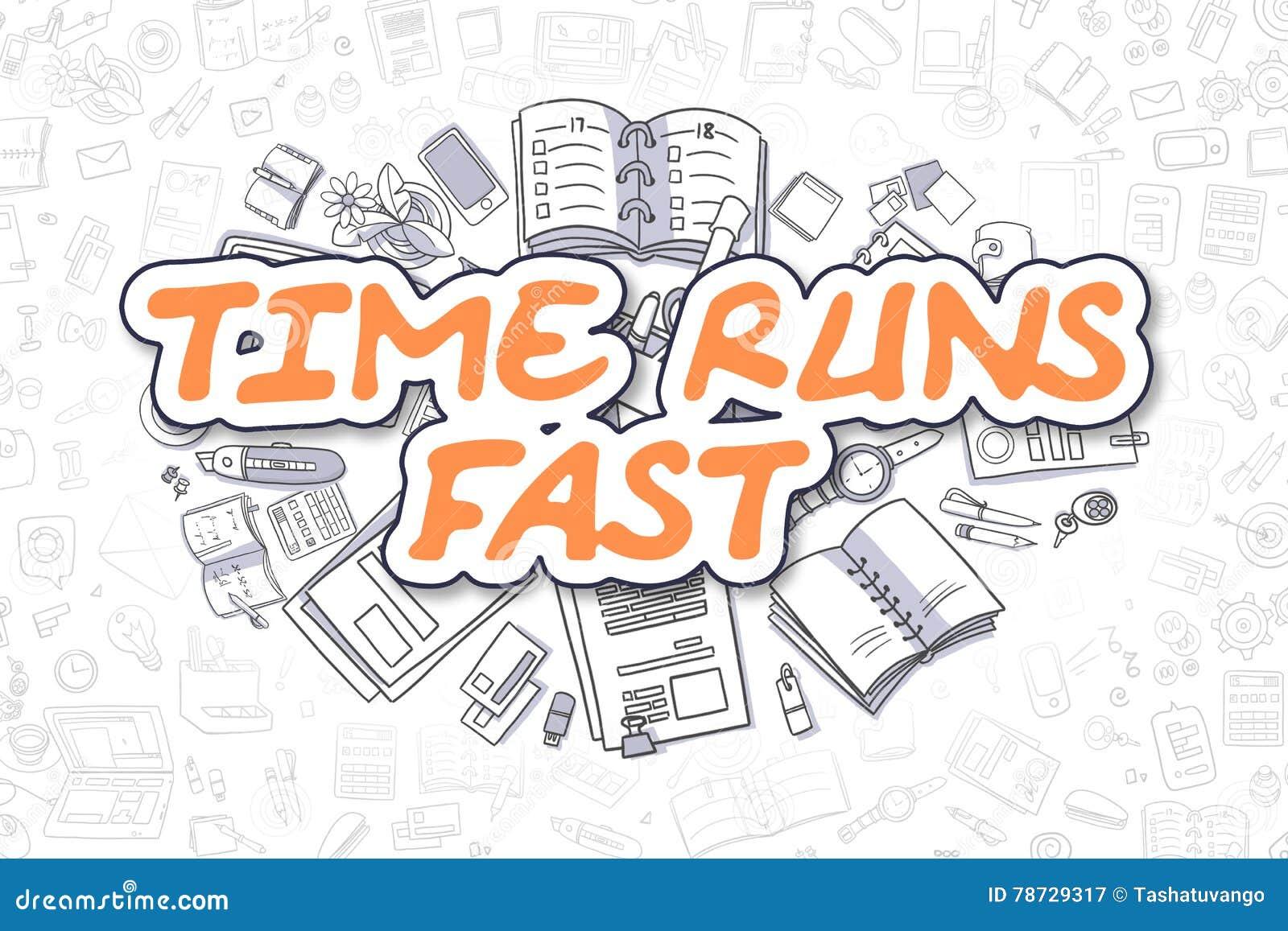 Tid körningar fastar - det orange ordet för klottret äganderätt för home tangent för affärsidé som guld- ner skyen till