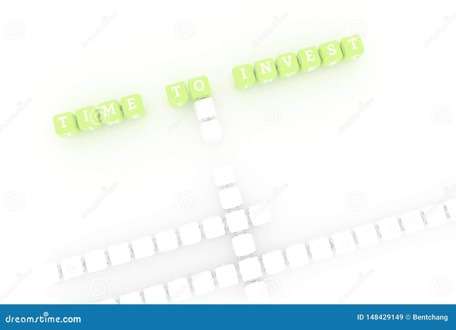 Tid som ska investeras, affärsnyckelordkorsord F?r webbsida, grafisk design, textur eller bakgrund