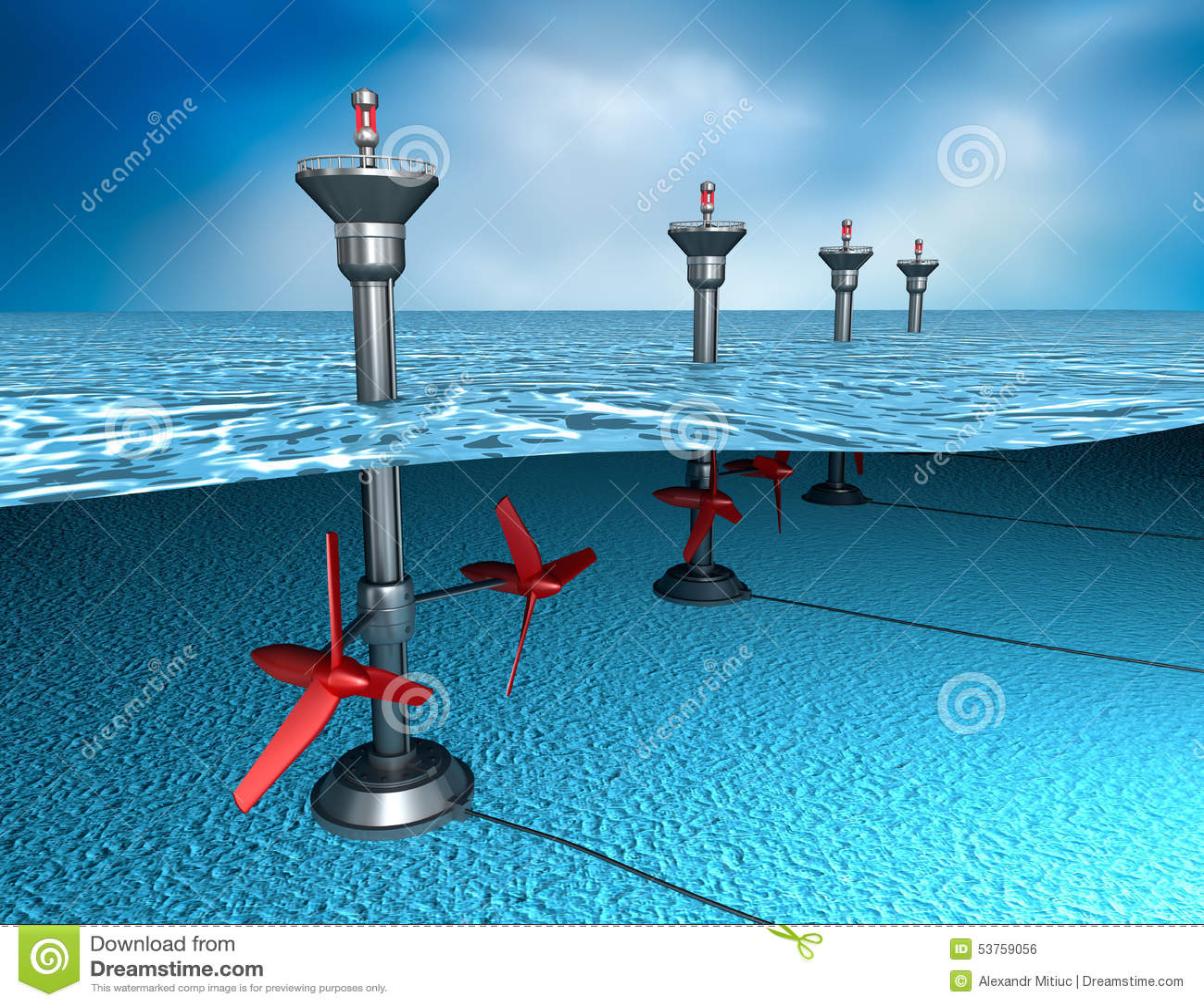 Tidal Energy: Generator In The Ocean Stock Illustration - Image ...