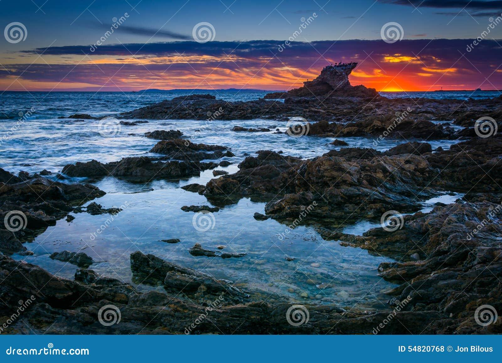 Tide pools at sunset, at Little Corona Beach, in Corona del Mar, California.