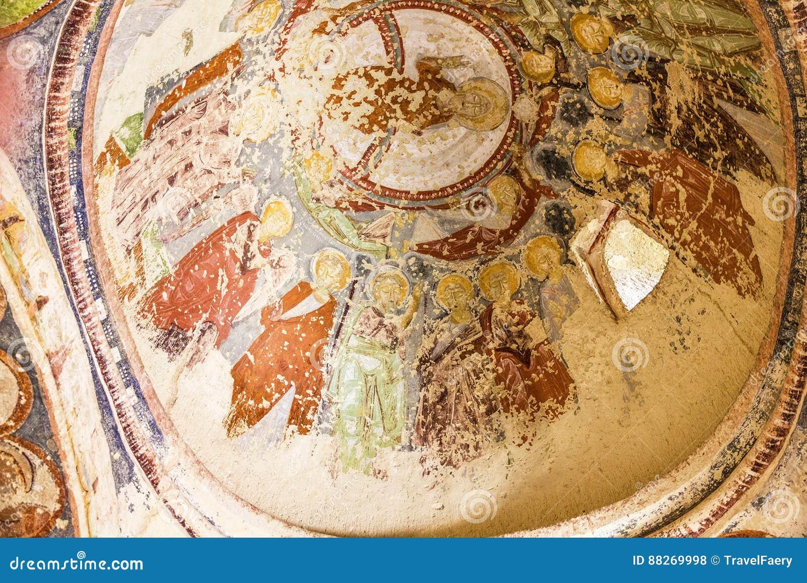 Tidig kristen freskomålning i den ortodoxa kyrkan El Nazar, Cappadocia, Turkiet för grotta Goreme öppet museum, Anatolien