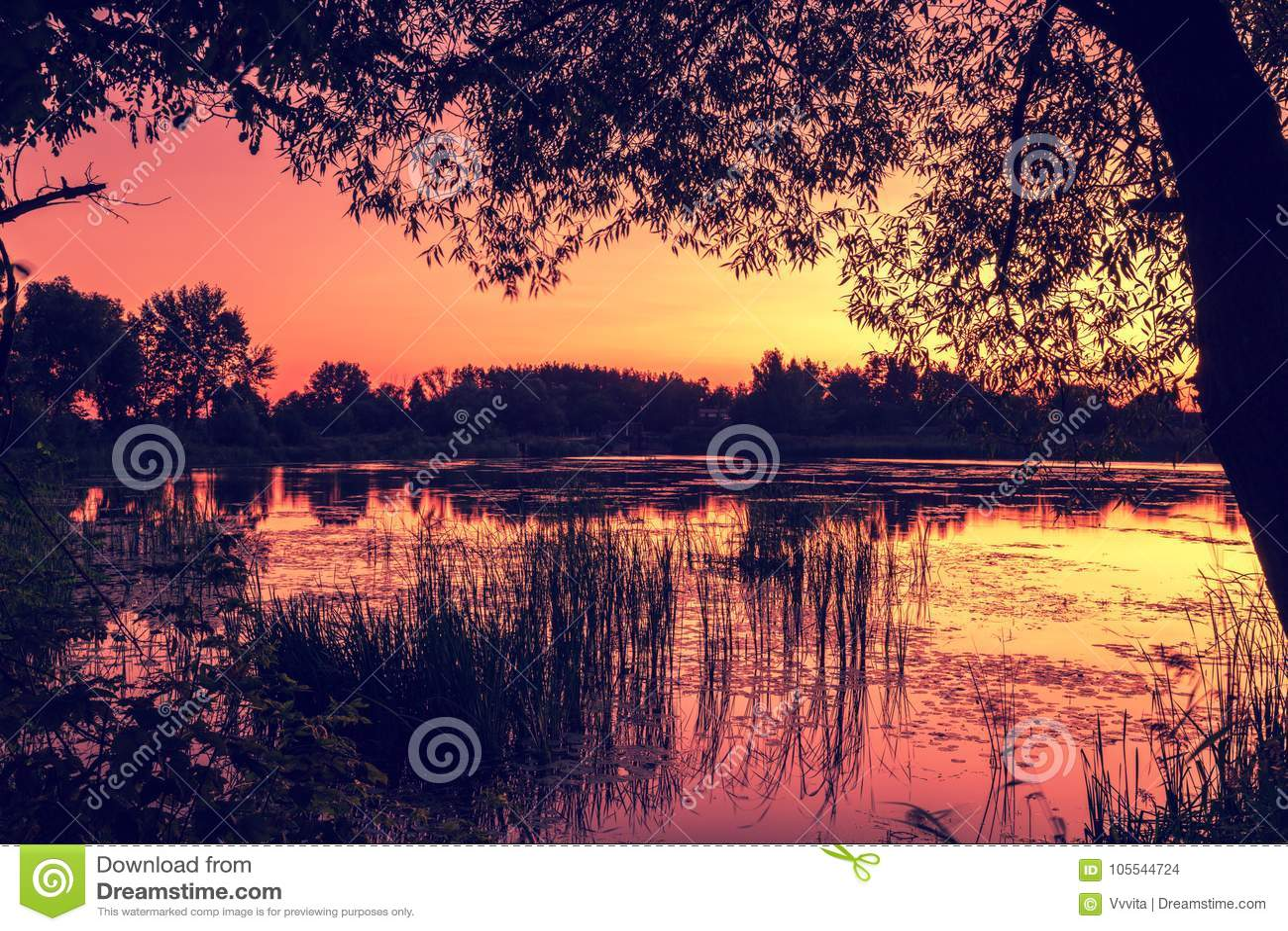 Tidigt på morgonen gryning över sjön