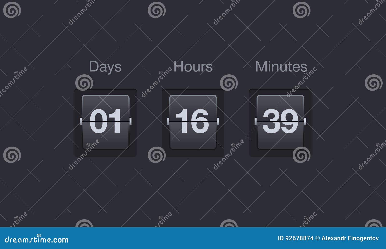 Tidmätare för vektorflipnedräkning Klockaräknare för websites och manöverenheter Dagar, timmar och minuter