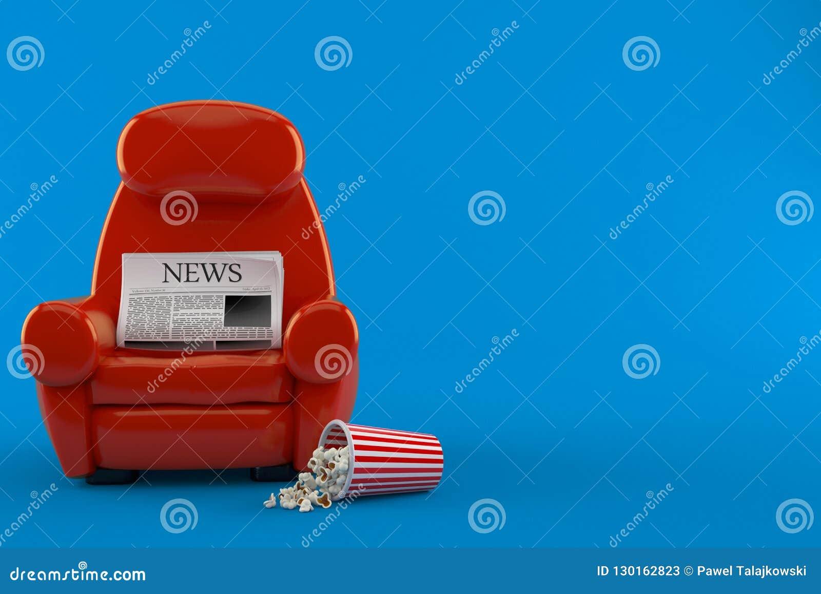 Tidning med teaterfåtöljen och popcorn