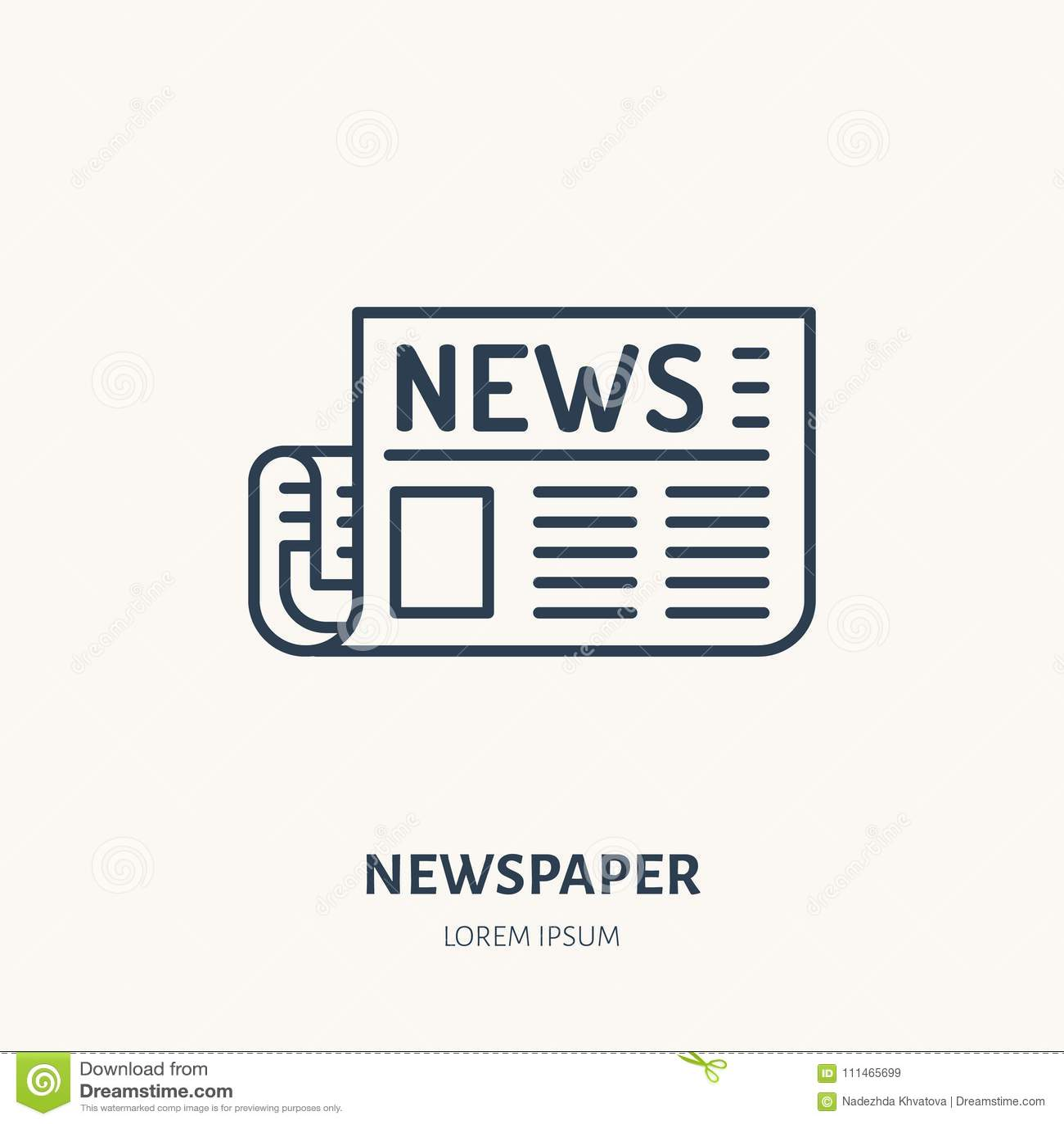 Tidningslägenhetlinje symbol Nyhetsartikeltecken Tunn linjär logo för press