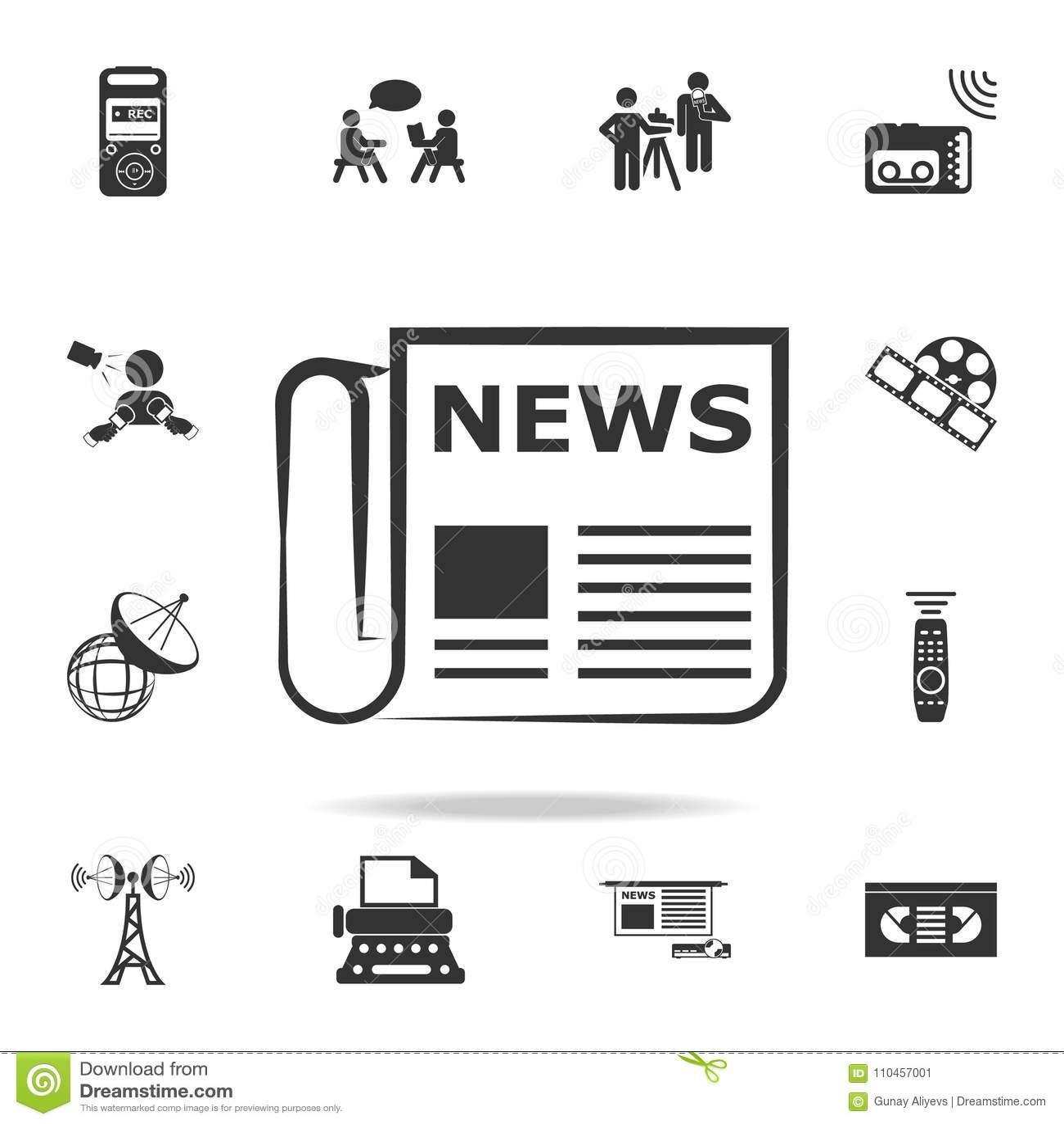 Tidningslinje symbol Detaljerade uppsättningsymboler av massmediabeståndsdelsymbolen Högvärdig kvalitets- grafisk design En av sa