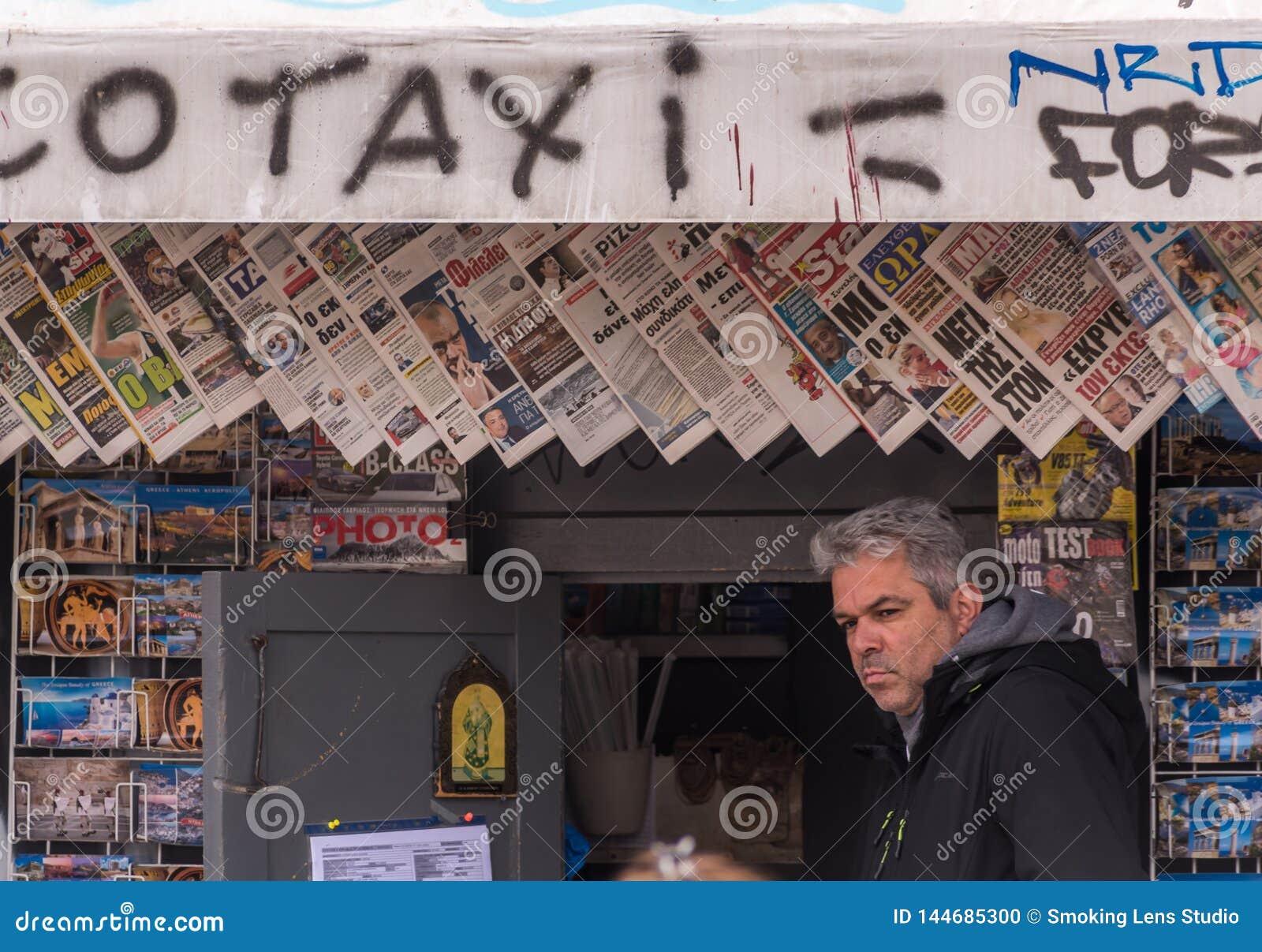 Tidningsställning, Monastiraki, Atyhens, Grekland