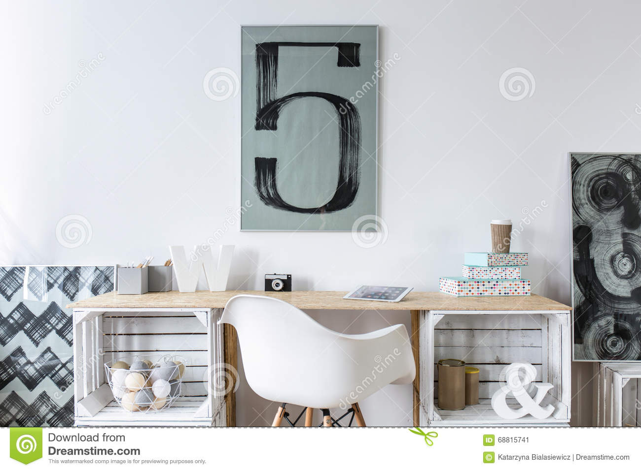 tidy wooden desk in stylish hipster study room stock photo - image