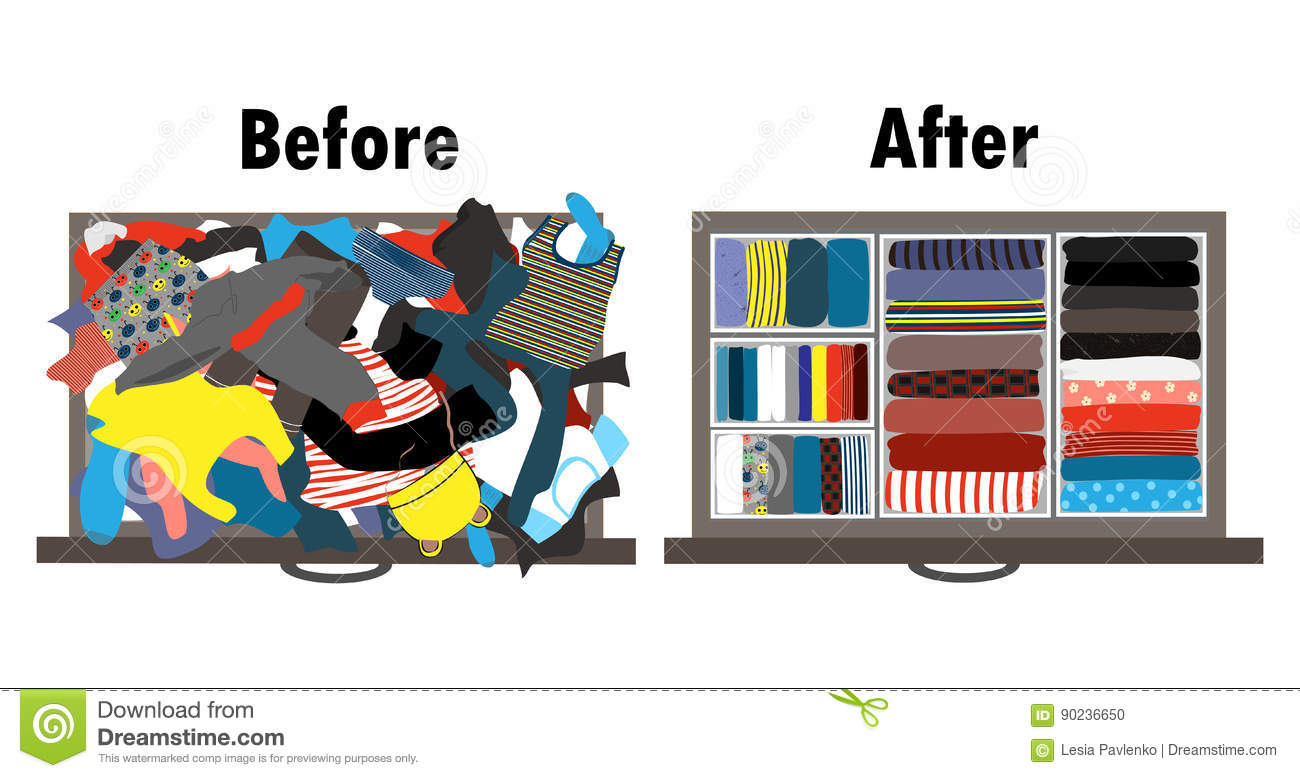 Before And After Tidying Up Kids Wardrobe In Drawer Messy Clothes And Nicely Arranged Clothes