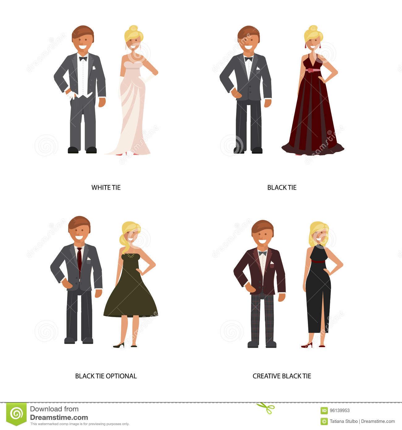 Black and white tie dress code. Man and woman in smart casual style suits  on white background. Vector illustration of people in formal clothes. 1c3091c59