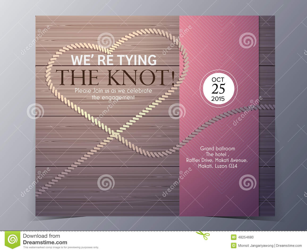 Tie the knot concept wedding invitation card vector template stock tie the knot concept wedding invitation card vector template stopboris Choice Image