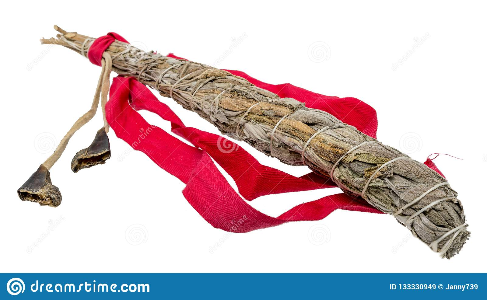 Tied bundle of white sage for smudging in the esoteric Indian area isolated on white