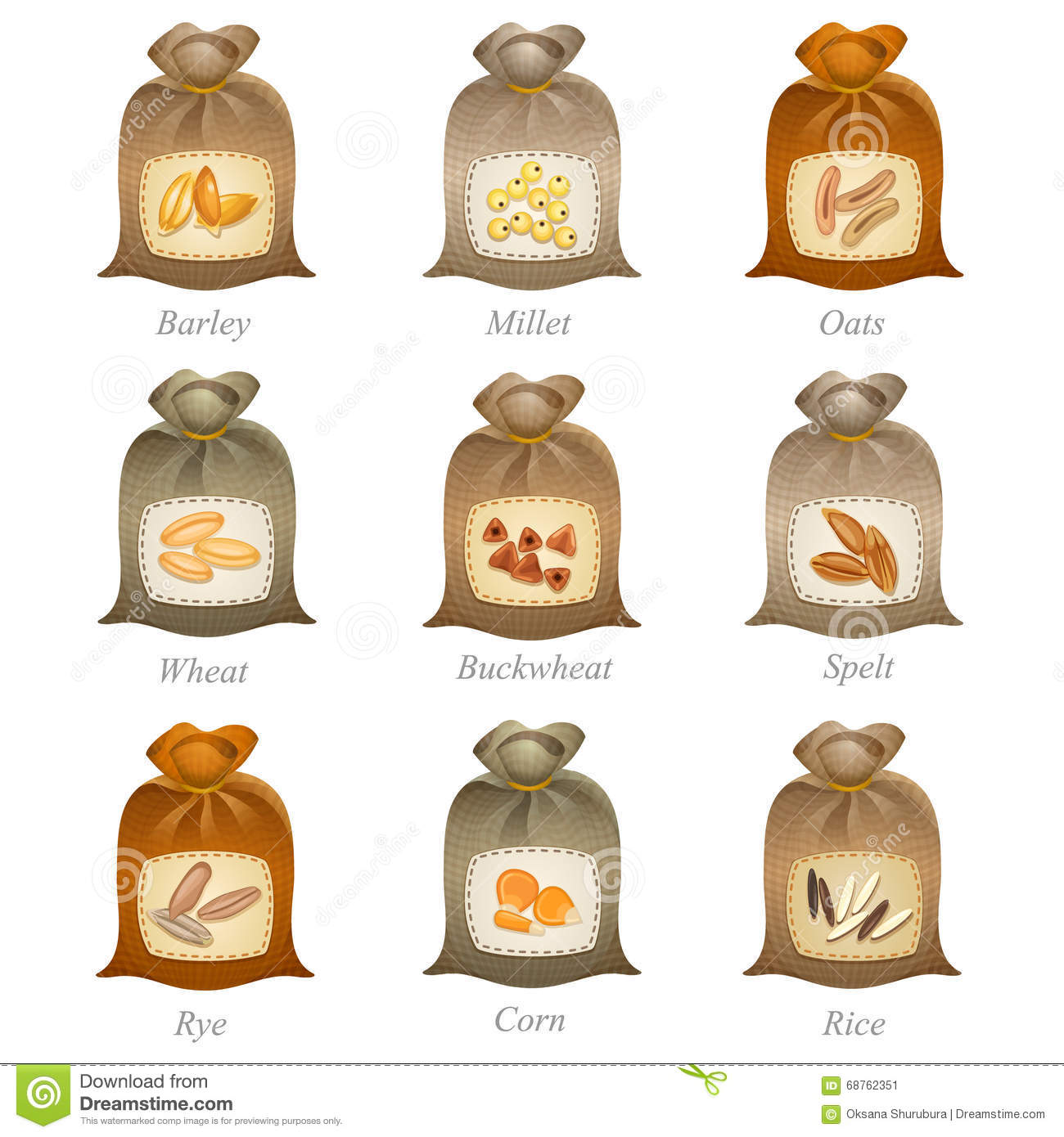 Tied Sacks With Cereal Labels On Them Stock Illustration