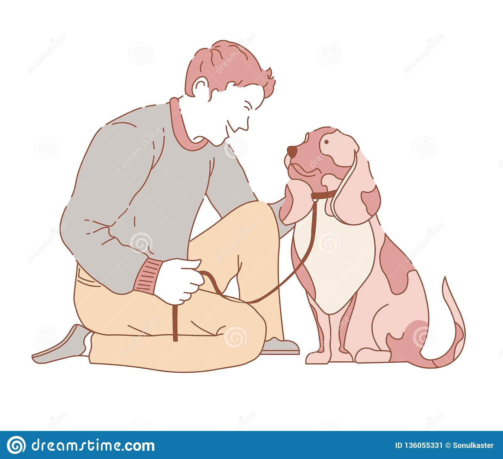 Tiempo de gasto masculino con el cuello que lleva del colmillo del perro