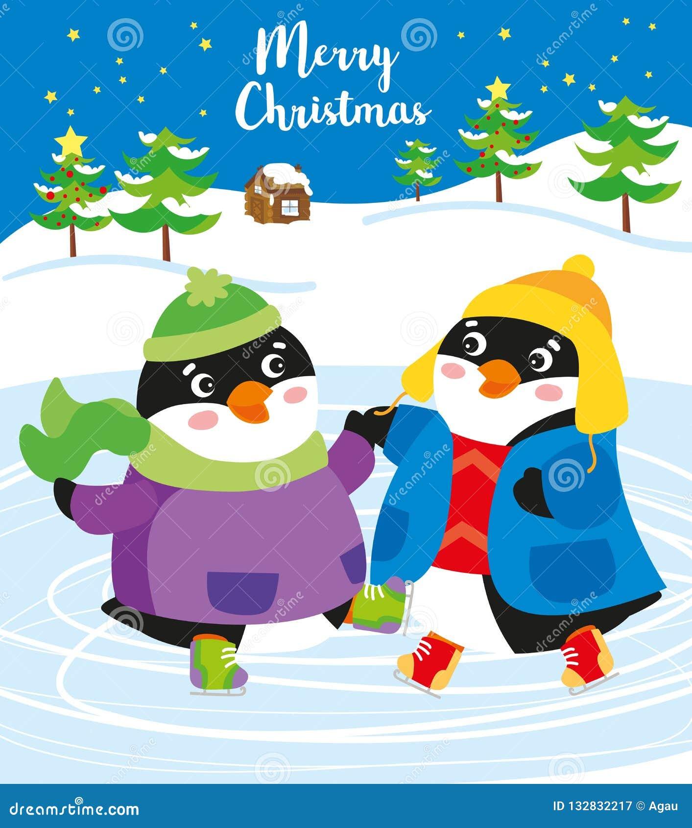 Tiempo de la Navidad: pingüinos felices en el hielo