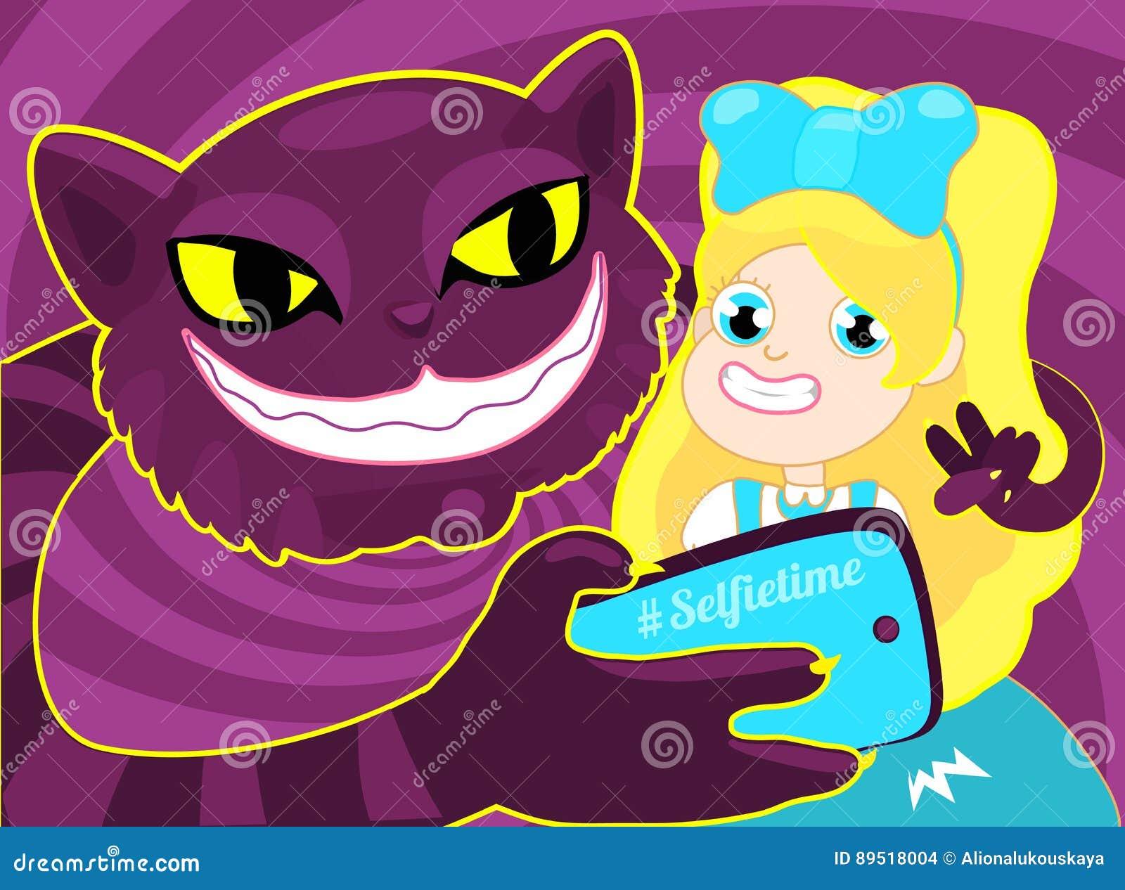 Tiempo de Selfie Muchacha que toma el selfie con el gato El ejemplo del concepto de una muchacha rubia alegre Alicia que toma un