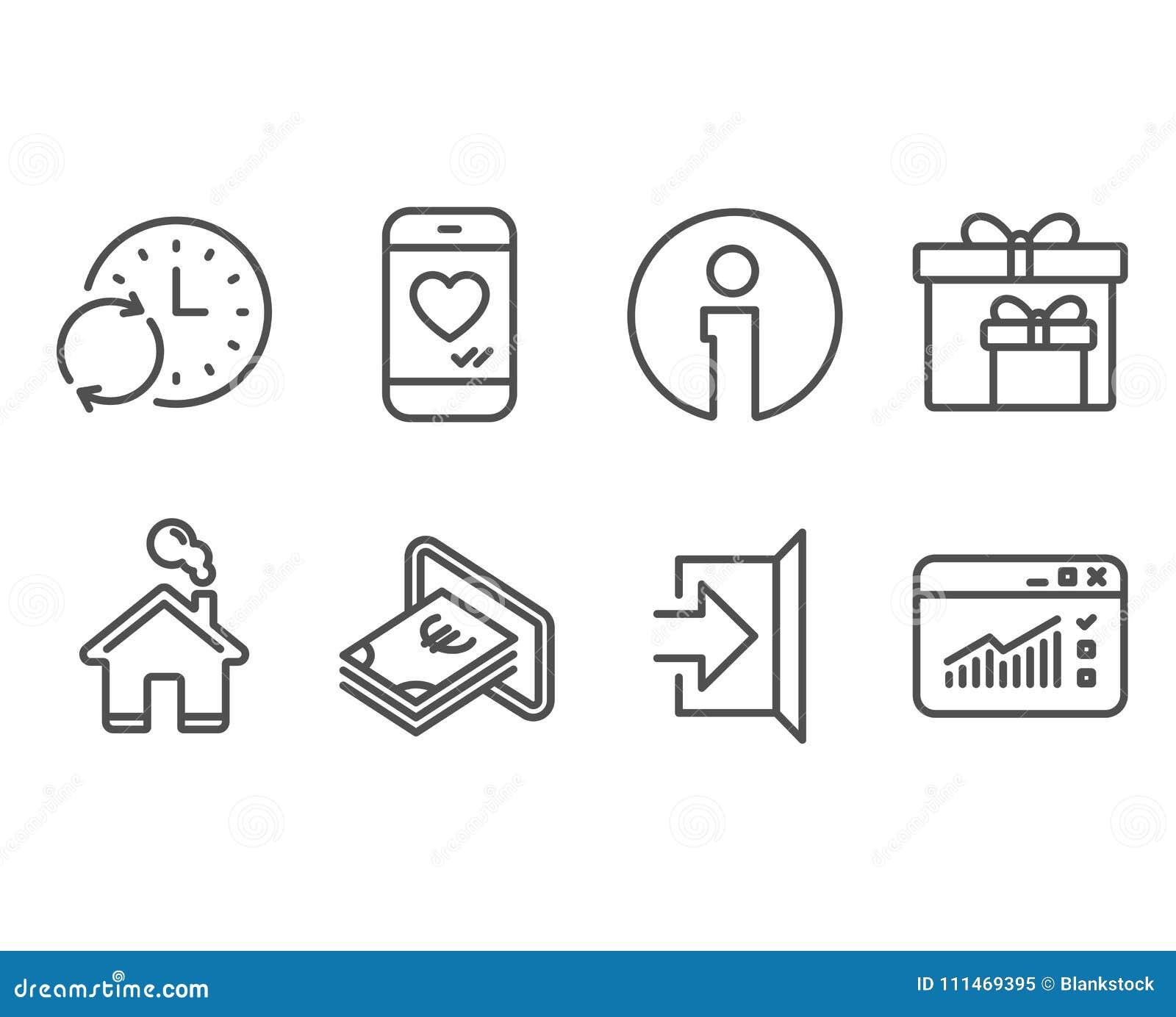Tiempo del efectivo, de la actualización e iconos de las cajas de la entrega Charla salga, del amor y las señales de tráfico del