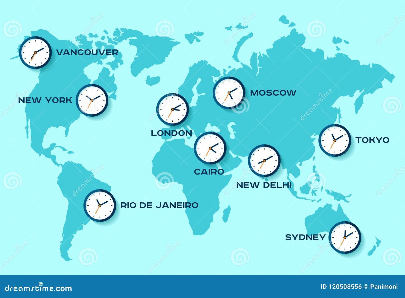 Mapa Del Tiempo En El Mundo.Tiempo Del Mundo Iconos Simples Del Reloj En Mapa Del Mundo
