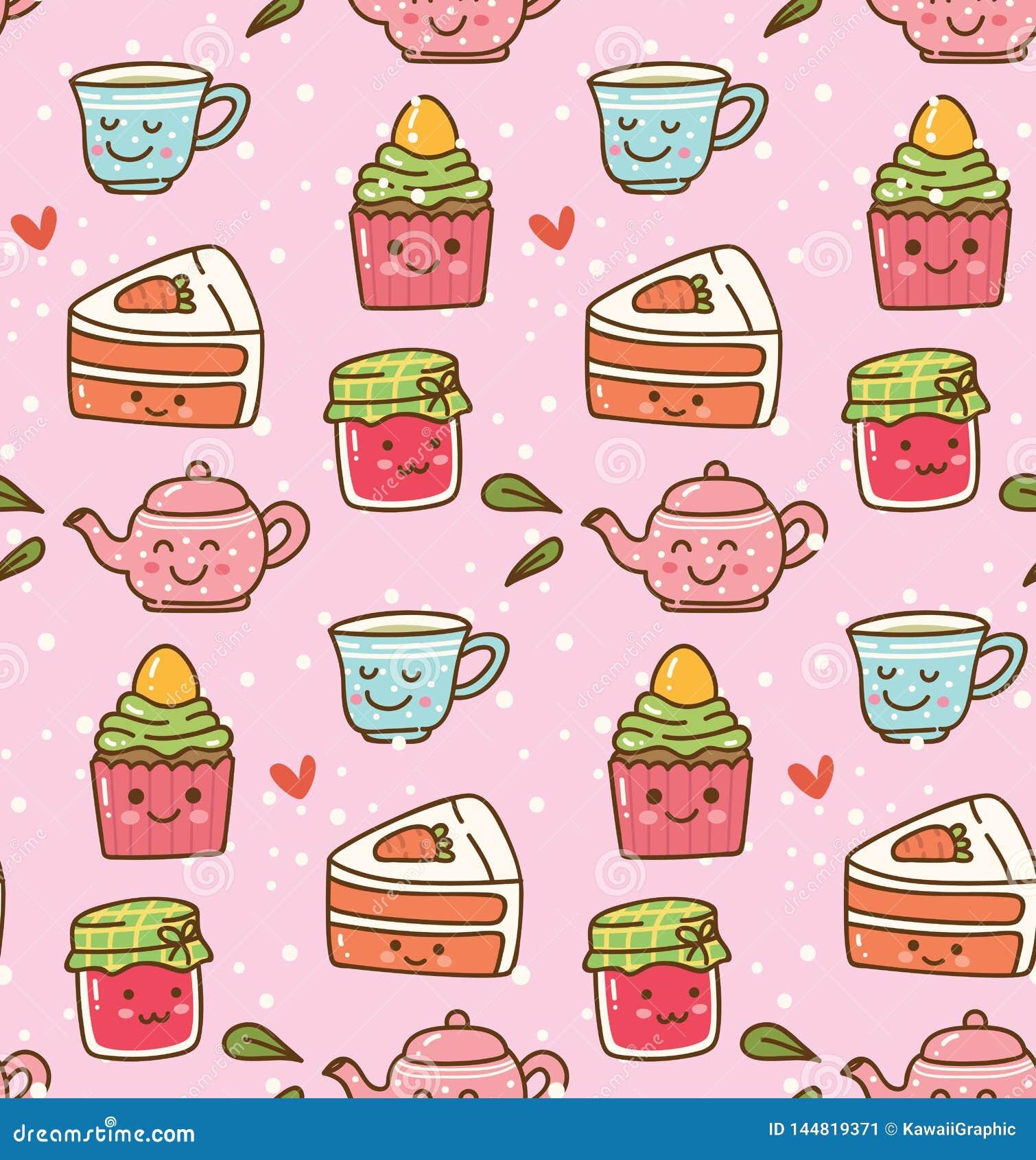 Tiempo del té de Kawaii con el modelo inconsútil lindo de la torta y de la mermelada de fresa