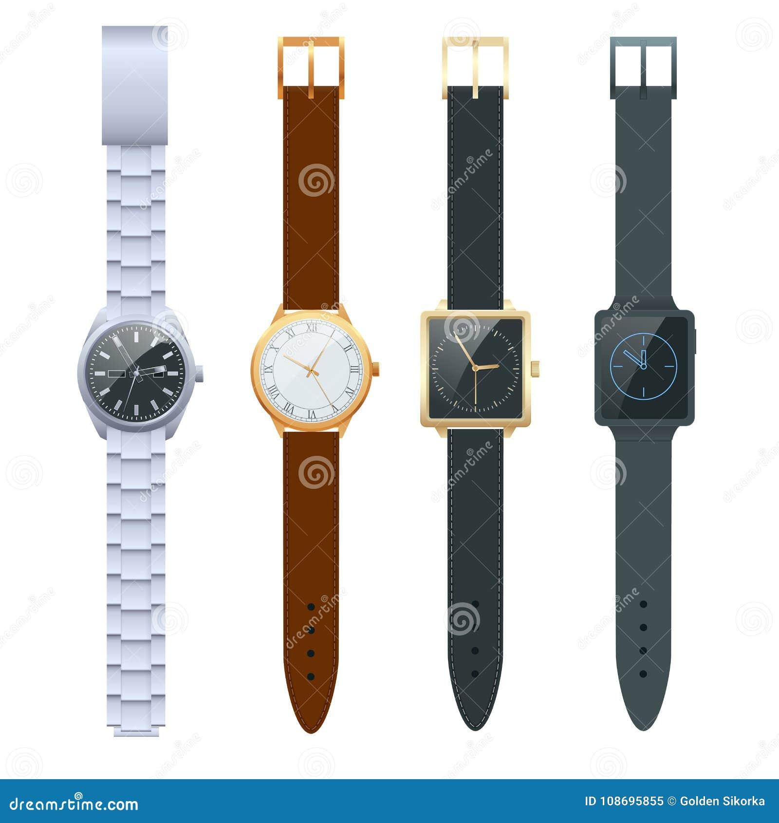 Tiempo en un reloj Sistema del vector de relojes de los hombres s Relojes de la obra clásica aislados en el sistema blanco del ve