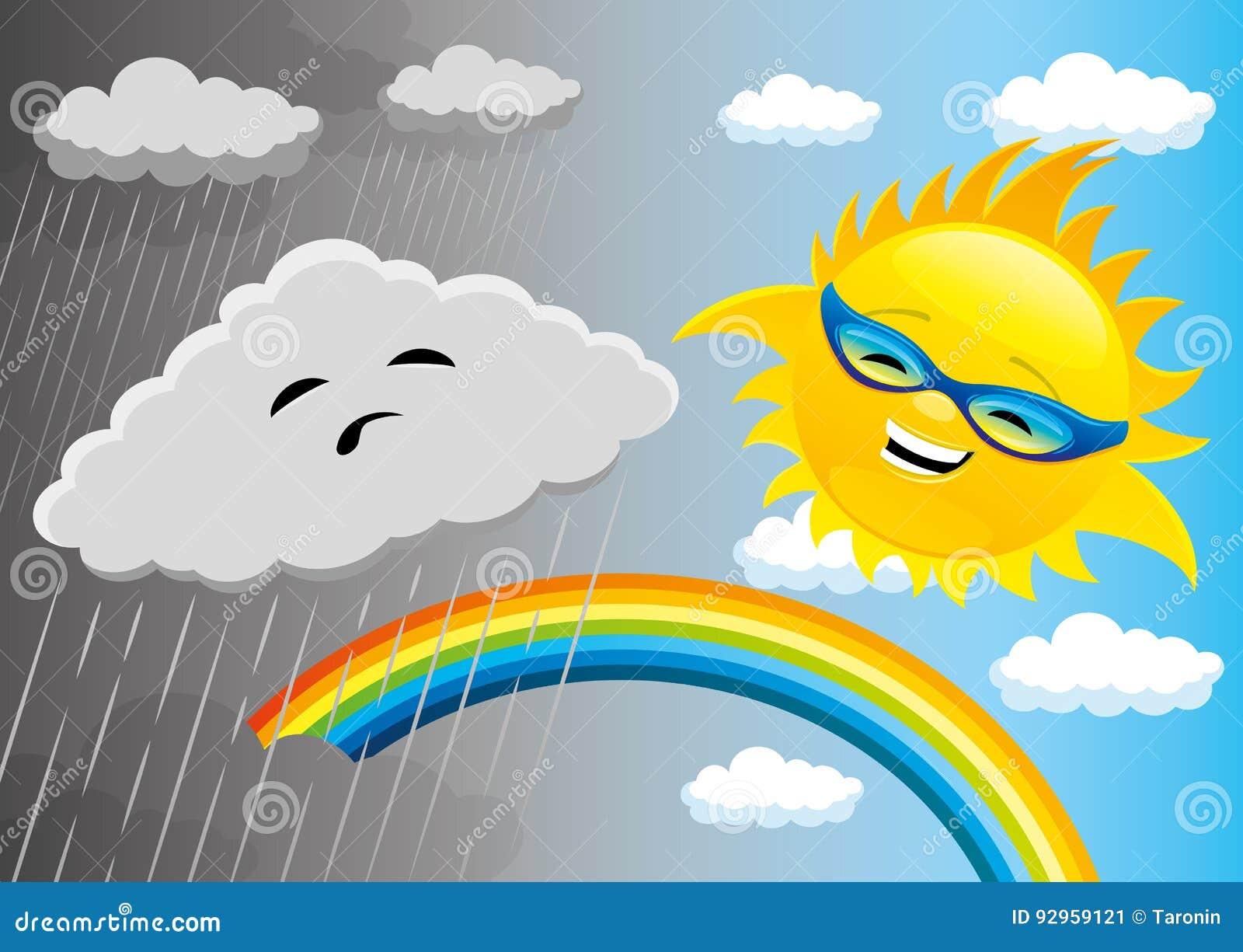Tiempo lluvioso y soleado