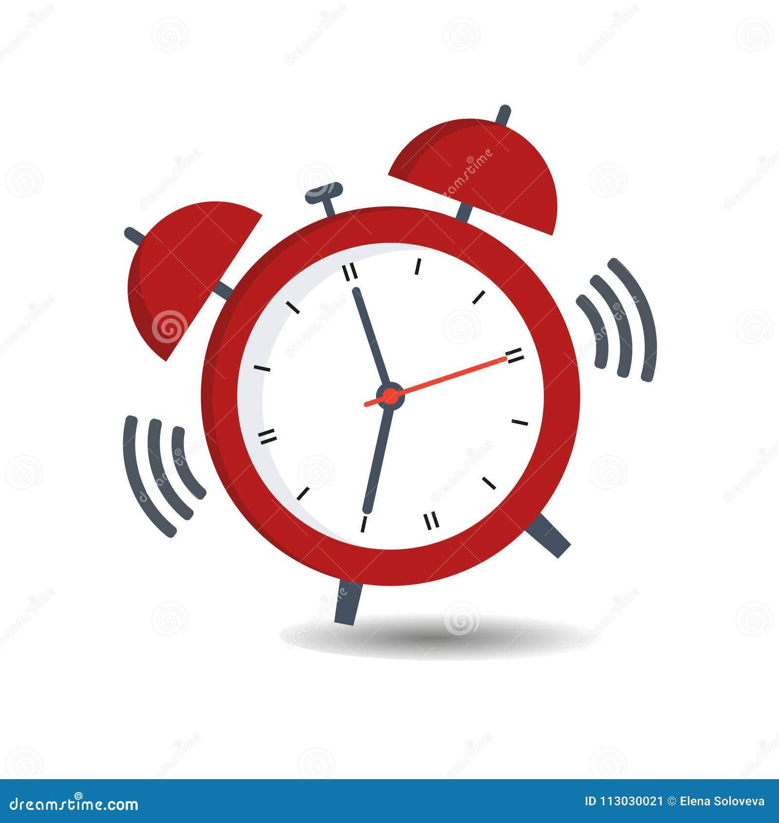 Tiempo para despertar rojo del despertador aislado en fondo en estilo plano