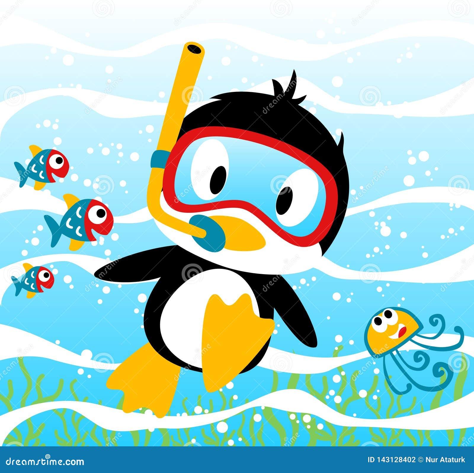 Tiempo que se zambulle de los pingüinos con los pequeños amigos, medusas, pescados, ejemplo de la historieta del vector