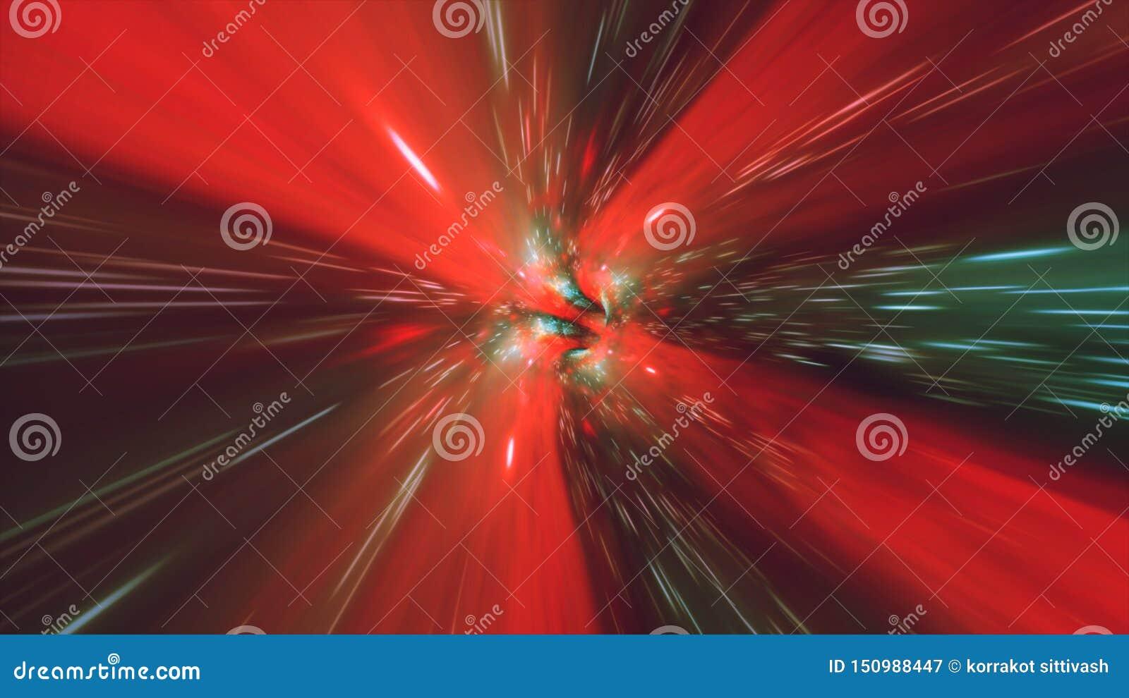 Tiempo y espacio hyperspace, animación del wormhole del túnel del vórtice del fondo 3D de la ciencia ficción de la deformación