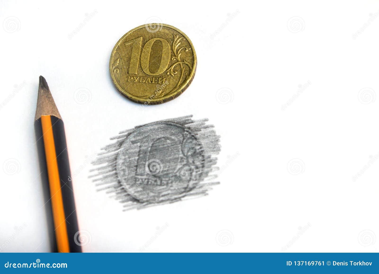 Tien Russische die roebels in potlood op een witte natuurlijke achtergrond worden getrokken