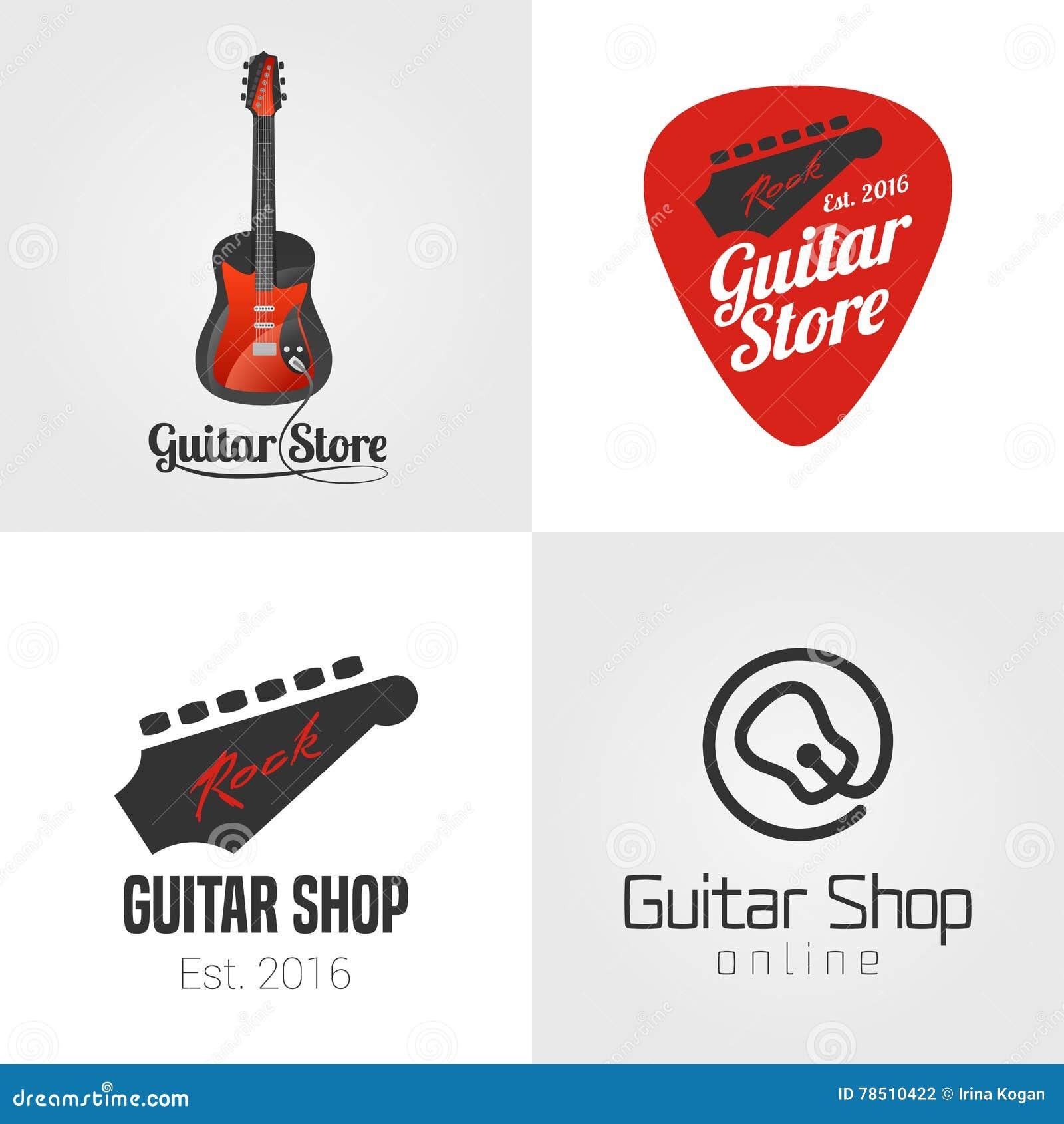 Tienda de la guitarra, sistema de la tienda de la música, colección de icono del vector, símbolo, emblema, logotipo, muestra