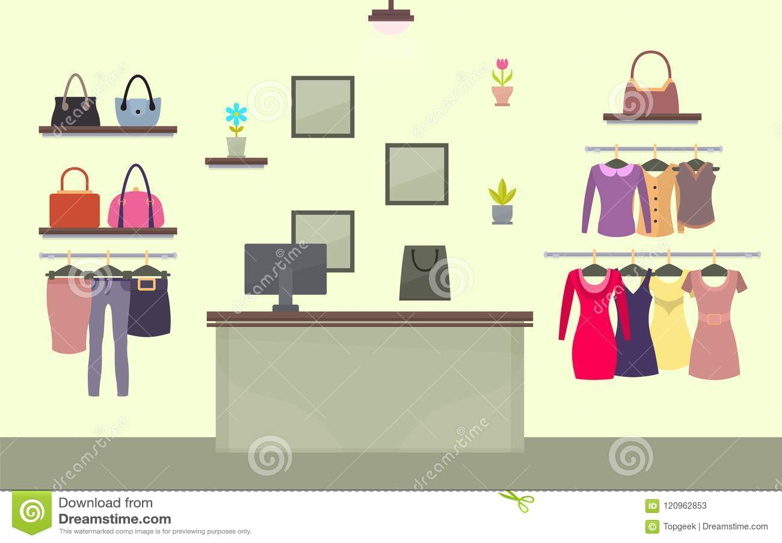 90e5865709f7 Tienda De La Moda Con Ropa Para Mujer Y Accesorios Ilustración del ...