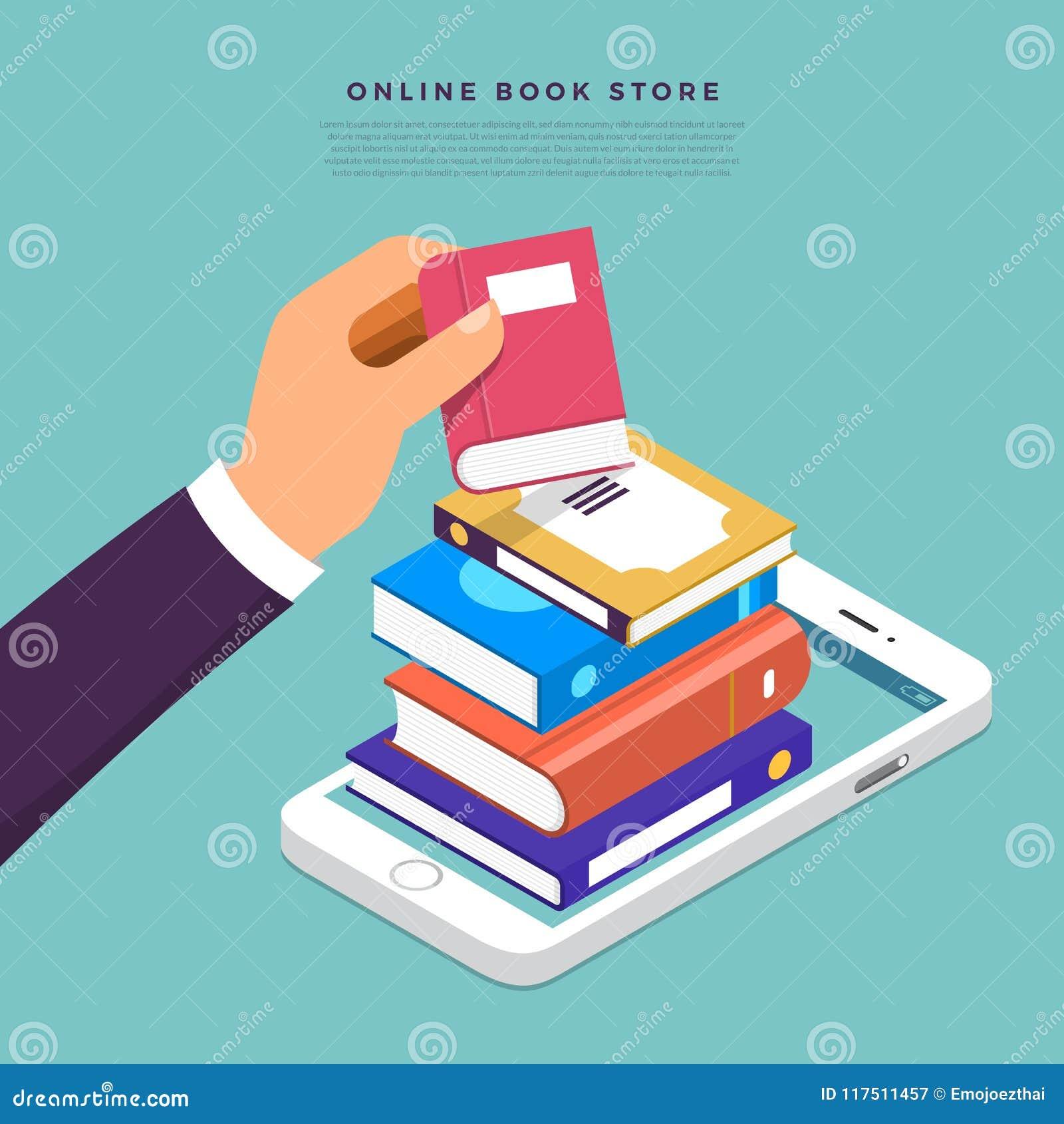 Tienda de libros en línea plana del concepto de diseño Escoja el libro a dedo del inte