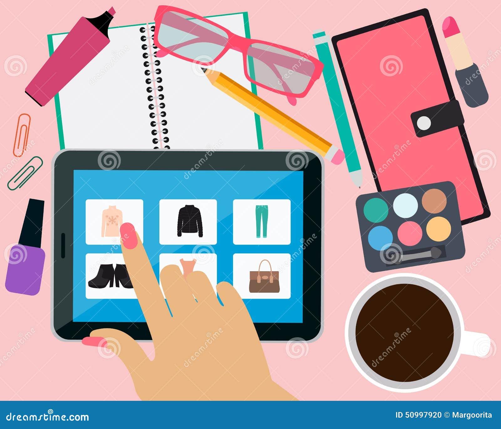 128a0145cf7c Tienda de ropa en línea ilustración del vector. Ilustración de ...