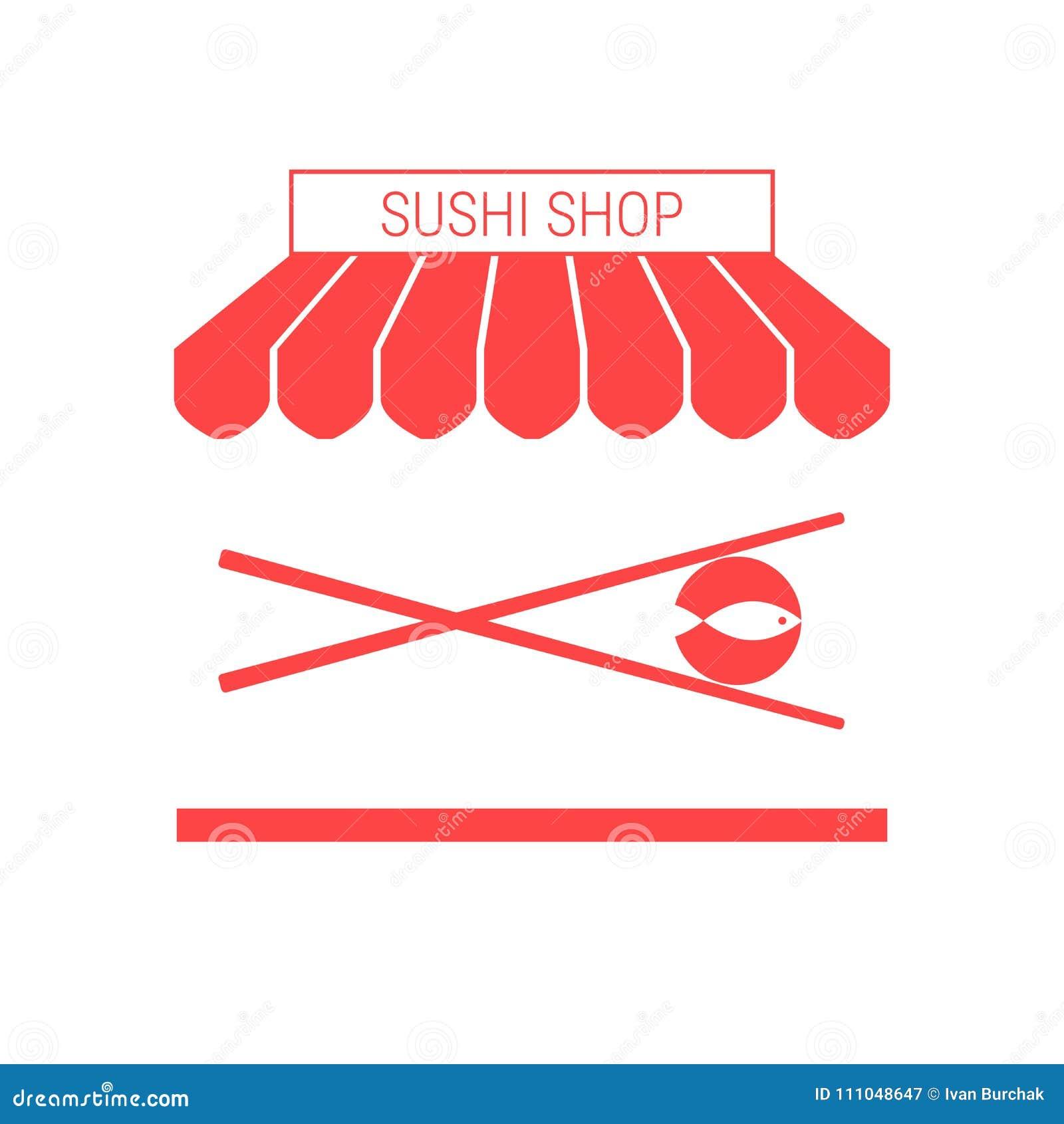Tienda del sushi, solo icono plano del vector del restaurante japonés Toldo y letrero rayados